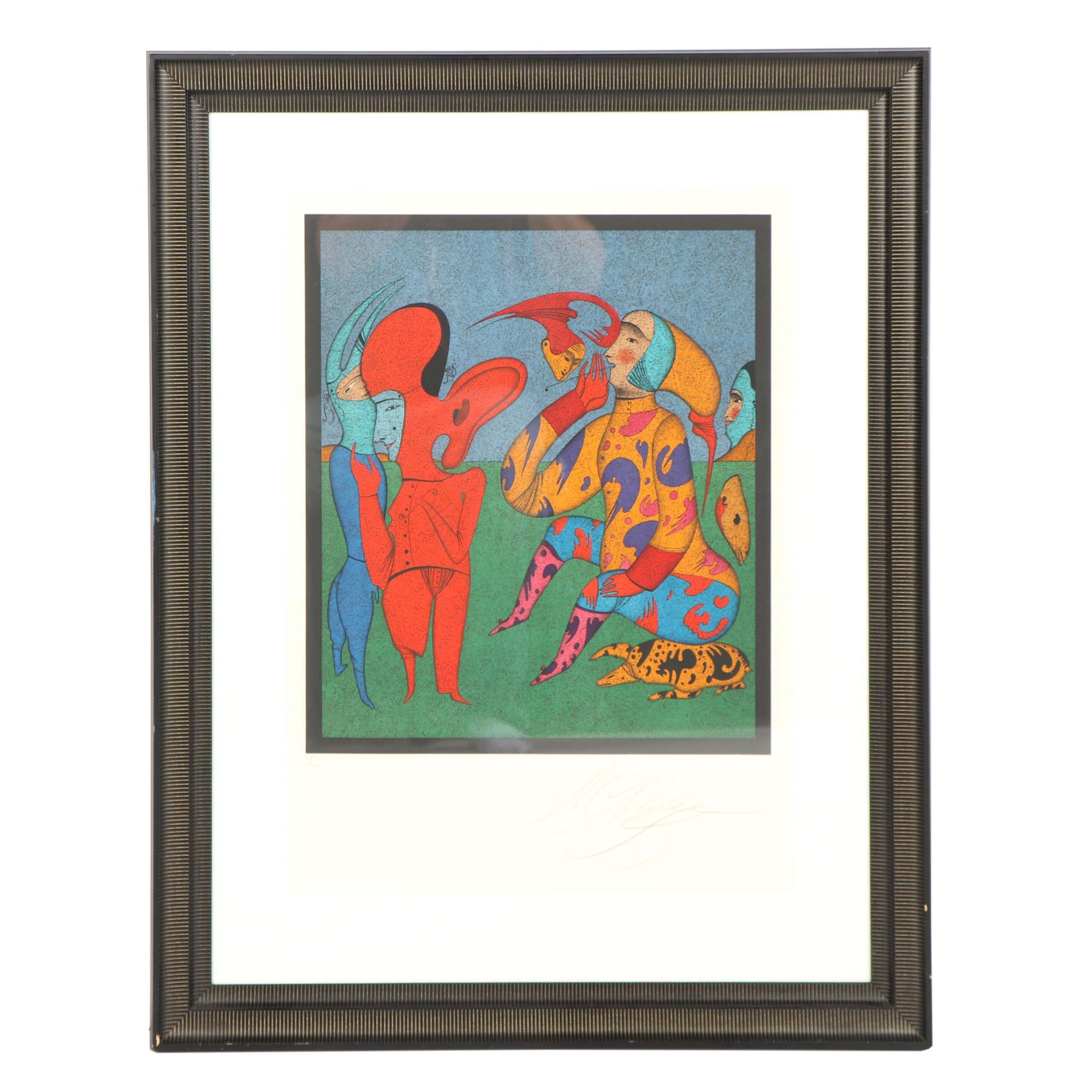 "Mihail Chemiakin Color Lithograph ""Game with Flying Head"""