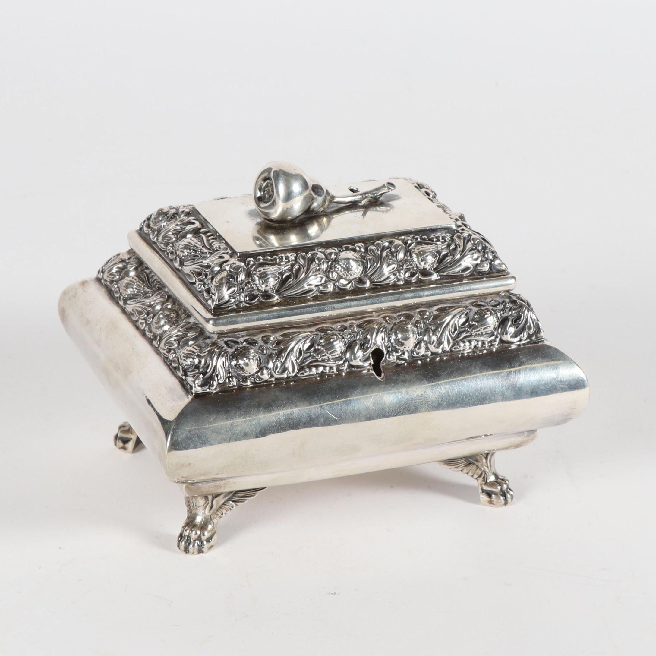 Austrian Repoussé Silver Casket, ca. Mid 19th Century