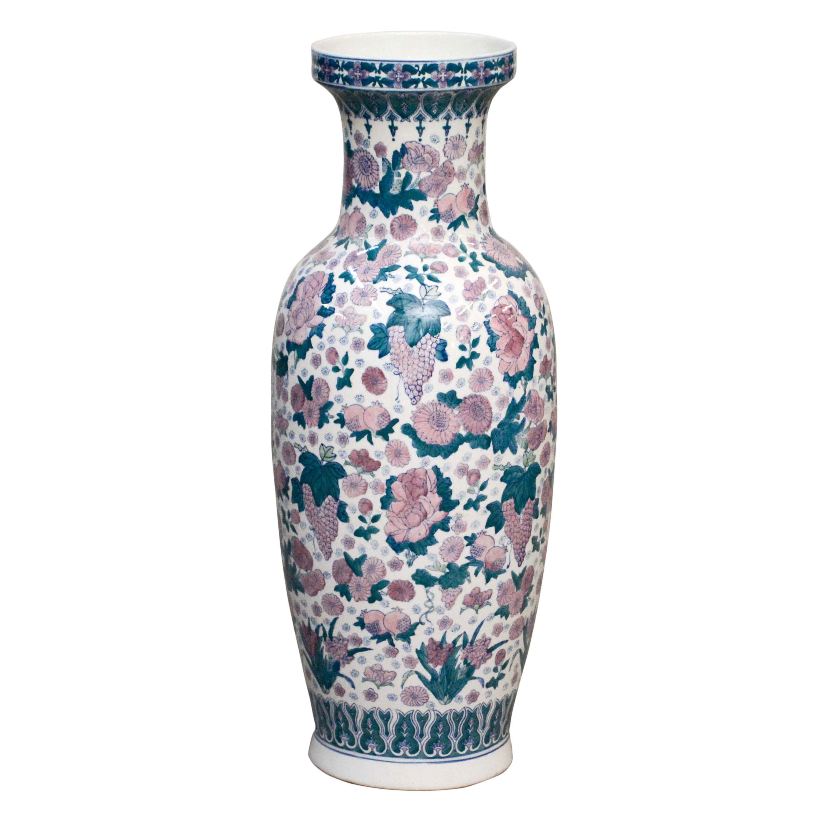 Chinese Fruit and Floral Themed Floor Vase