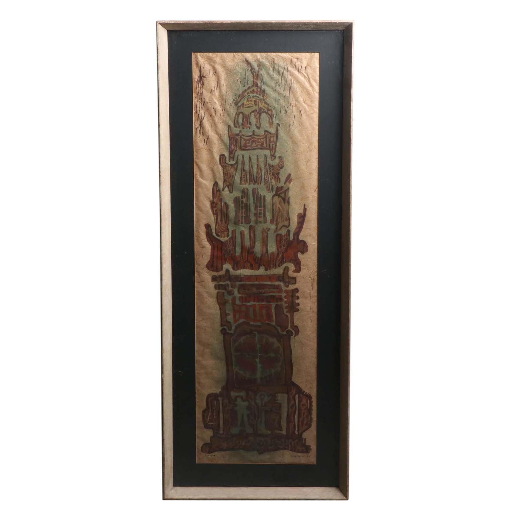 """Reba Stewart Woodcut on Handmade Paper """"Temple"""" 1953"""
