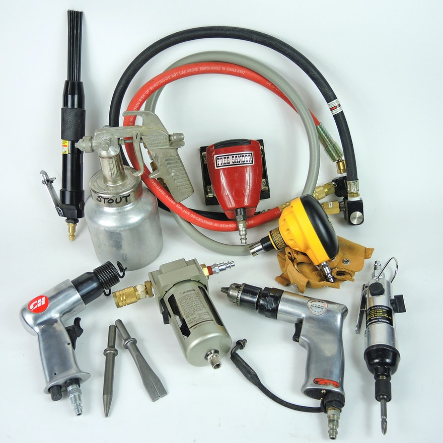 Pneumatic Tools Including Dewalt Palm Nailer, Ram-Air Drill and More