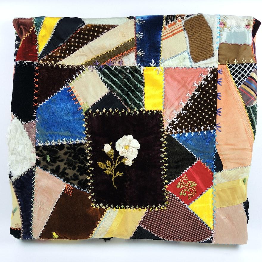 Antique Crazy Quilt with Dimensional Decorative Elements
