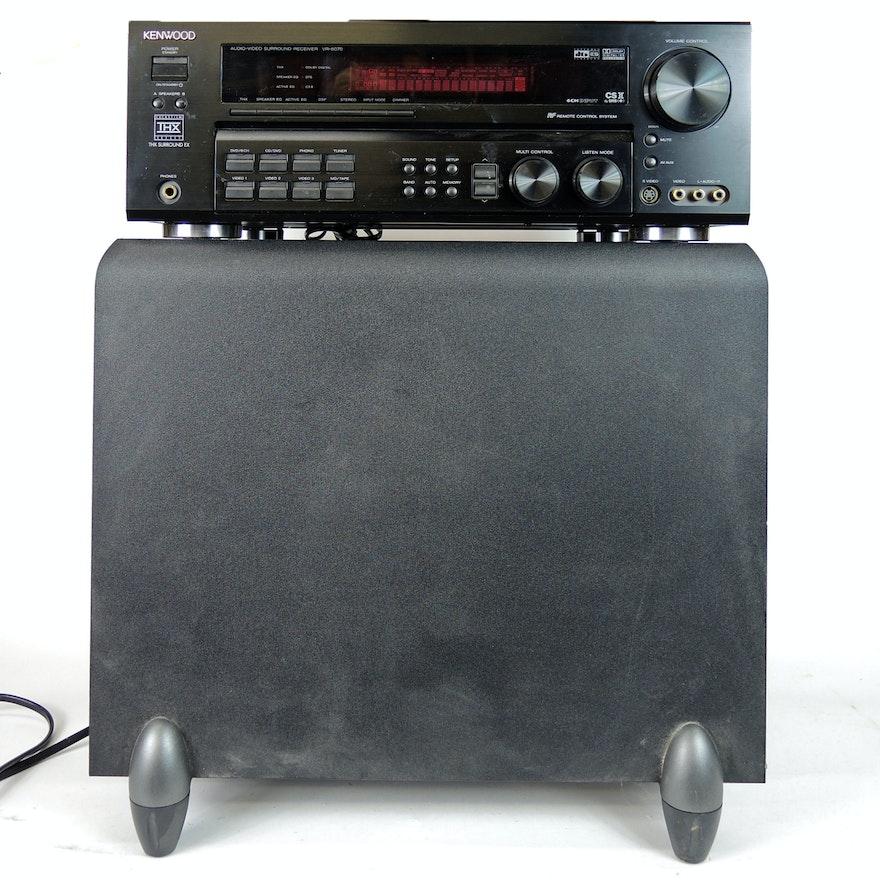 Kenwood Audio-Video Surround Receiver and Klipsch Powered Subwoofer