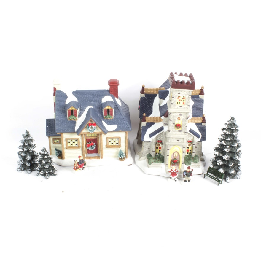 St Nicholas Christmas Village.St Nicholas Square Christmas Village Set