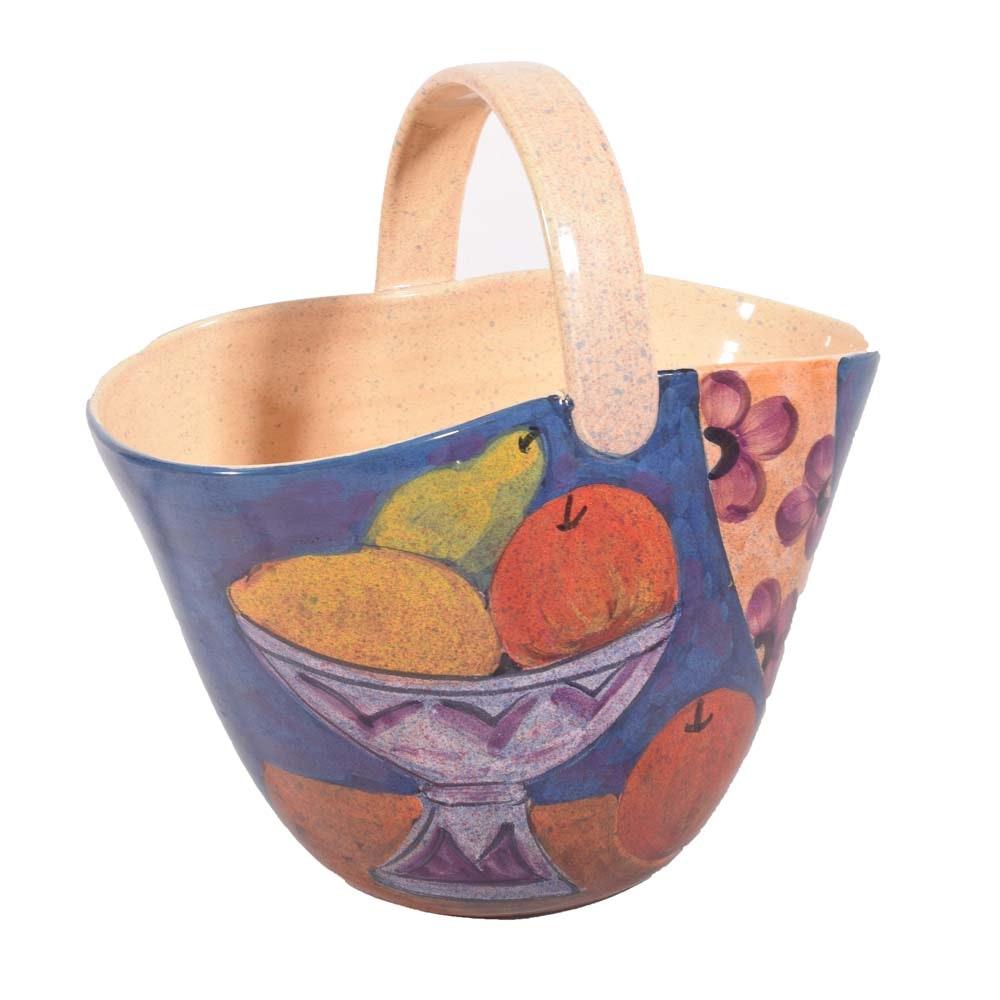 Glazed Ceramic Italian Centerpiece Basket