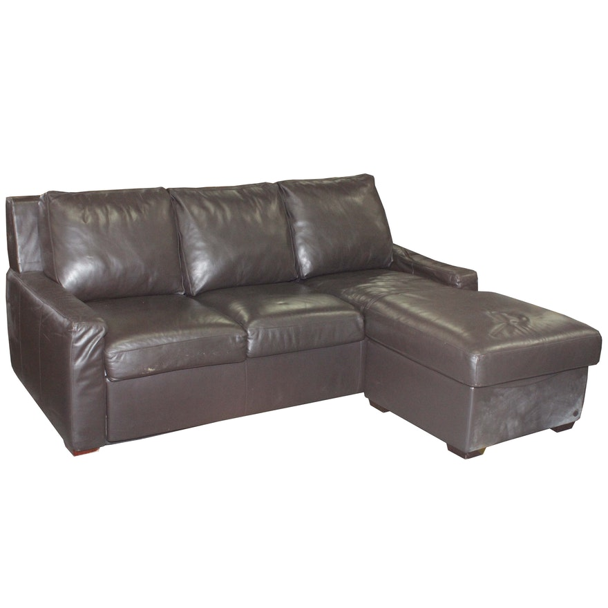 Contemporary Brown Leather Sleeper Sofa