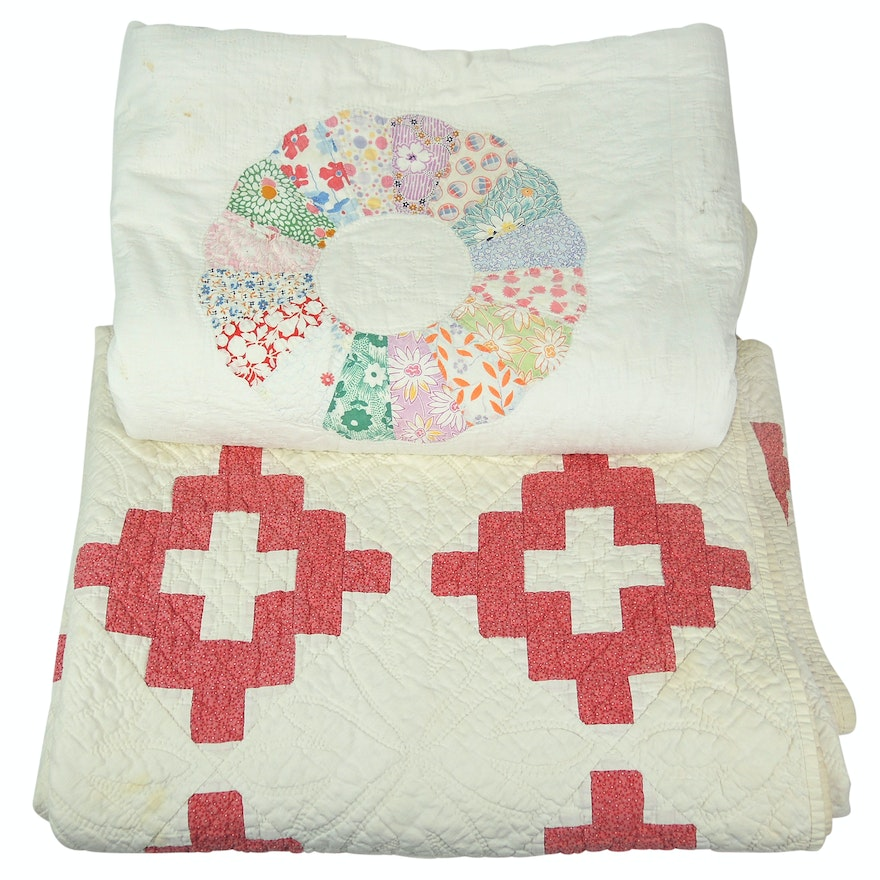 """Vintage Handmade """"Dresden Plate"""" and """"Christian's Cross"""" Quilts"""