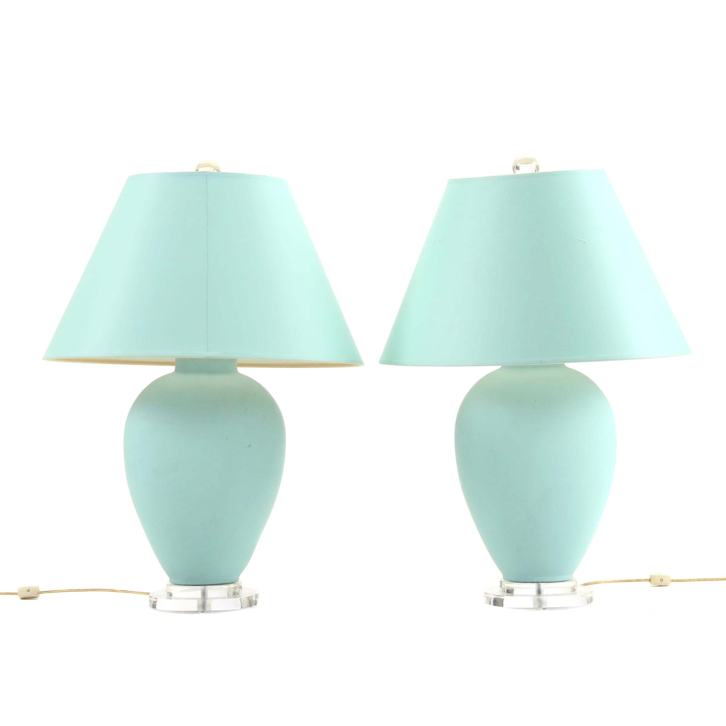 Turquoise Ceramic Table Lamps With Shades Ebth