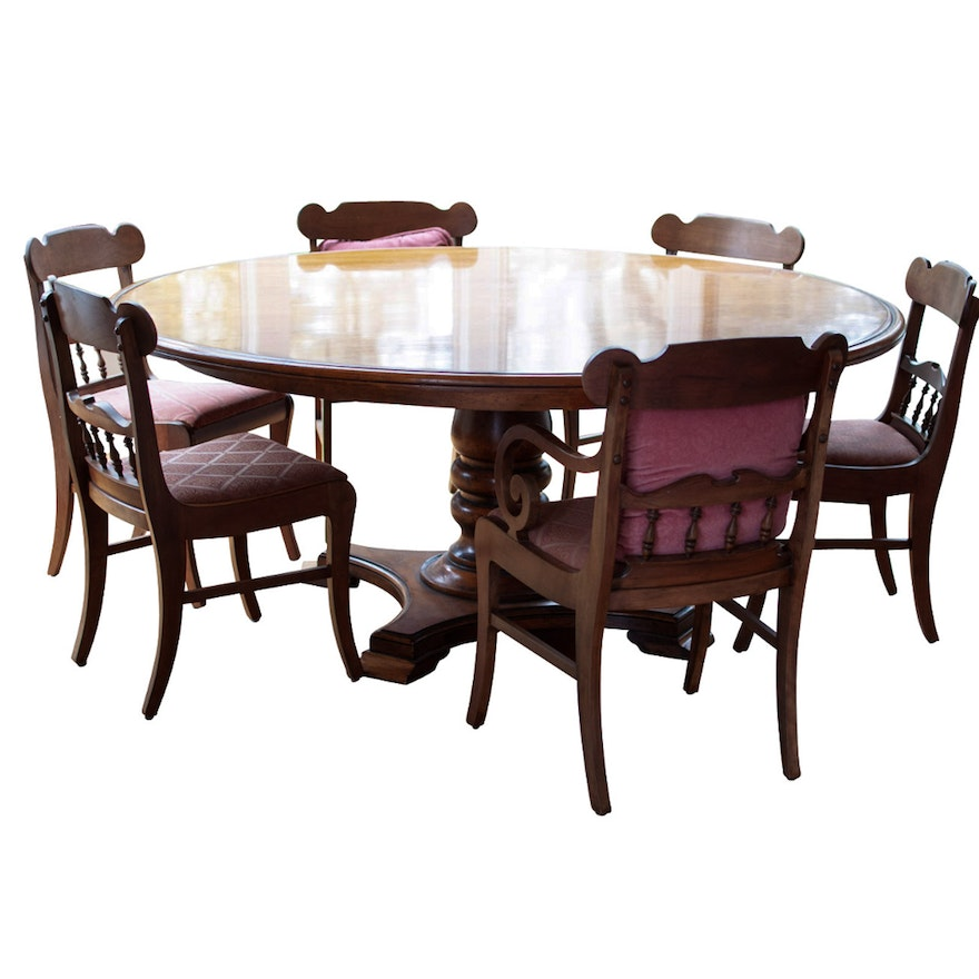 French Provincial Style Dining Table By Henredon With Six Chairs