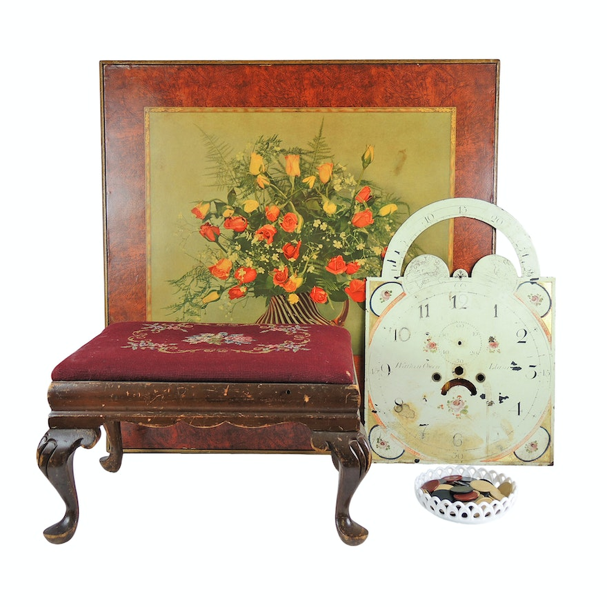 Floral Folding Card Table c. 1940s, Foot Stool, Clock Face and Poker Clips