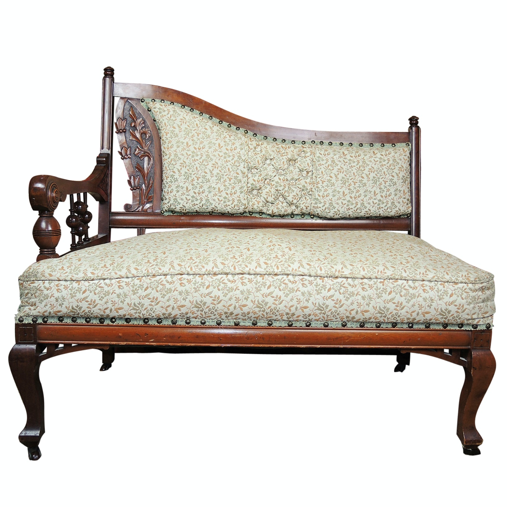 Victorian Settee, Mahogany Art Nouveau Carving, Mid-19th Century