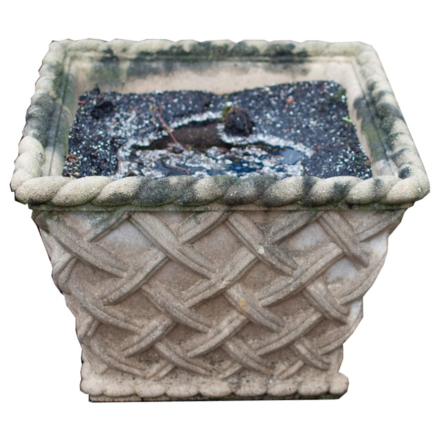 Large Basketweave Patterned Concrete Outdoor Planter