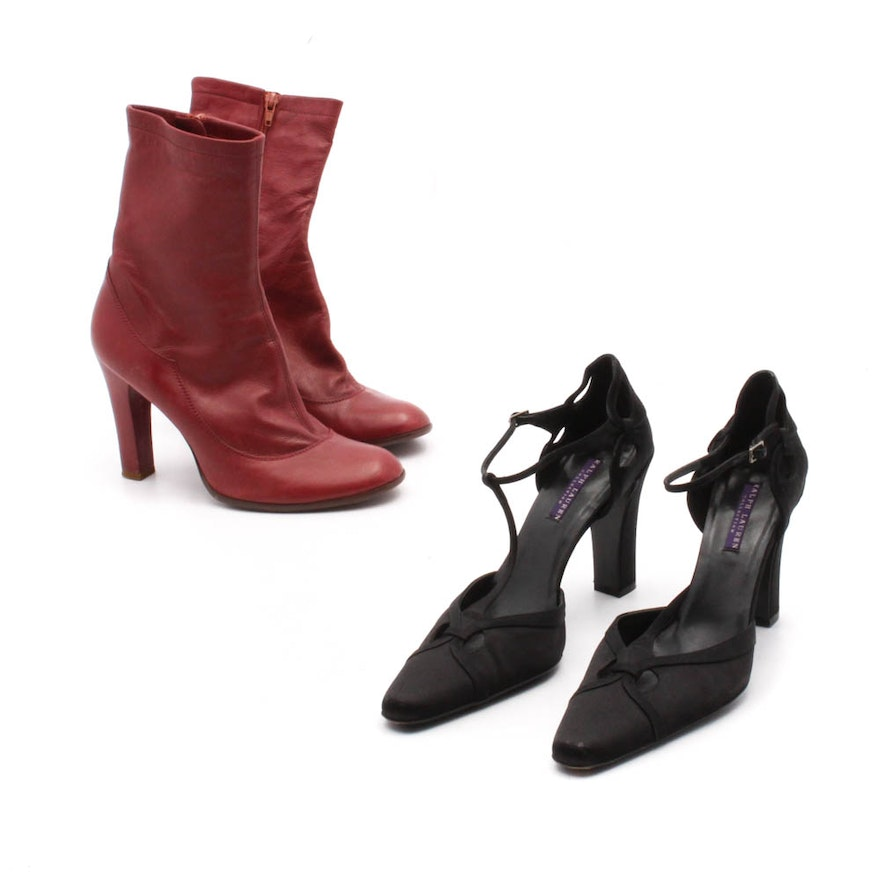 438b7174 Women's Marc Jacobs Red Leather Boots and Ralph Lauren T-Strap Dress Sandals