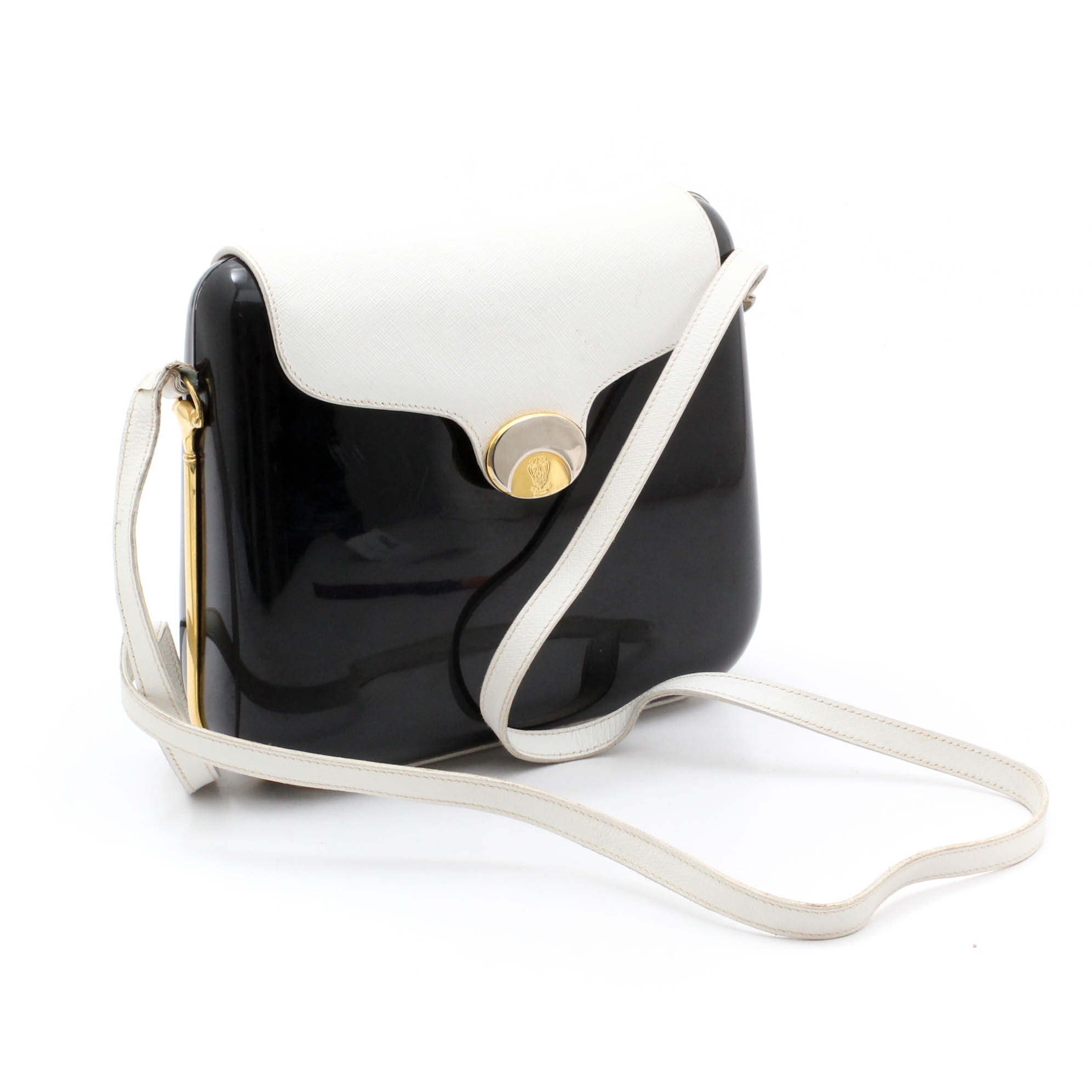 Gucci Black with White Leather Flap Front Shoulder Bag