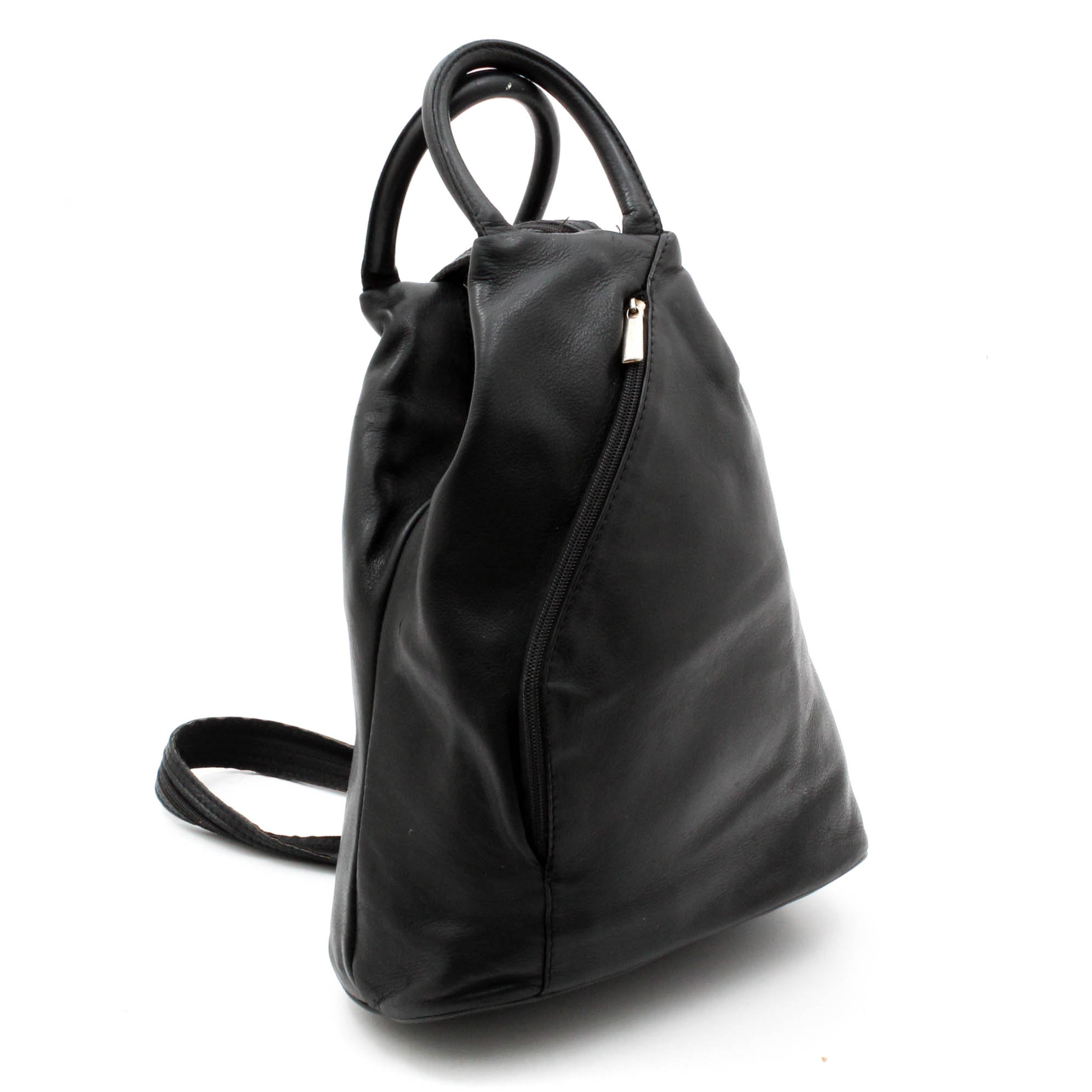 Design of Italy Black Leather Convertible Backpack Handbag