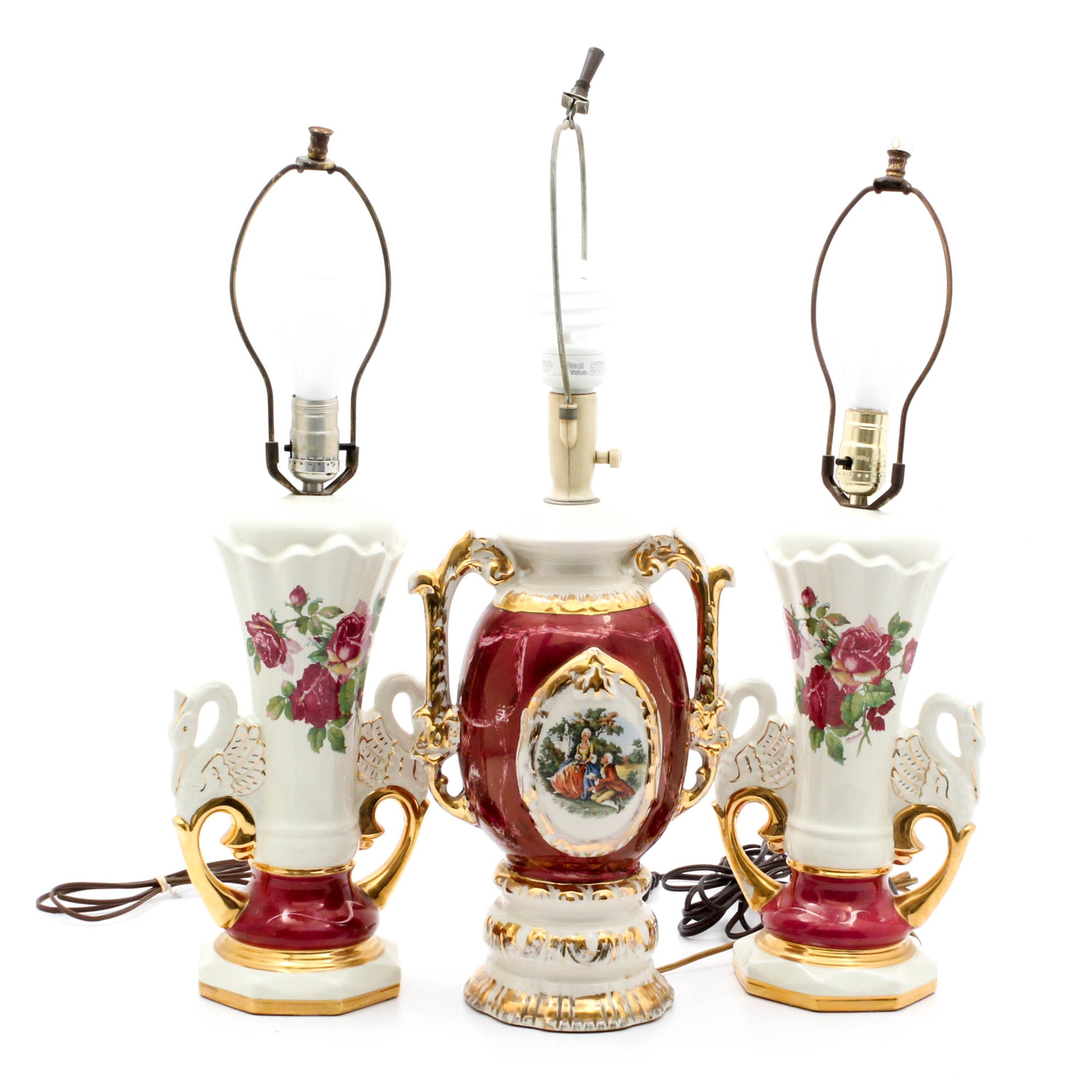Sevres Style Porcelain Lamp with Transfer Print Roses Lamps