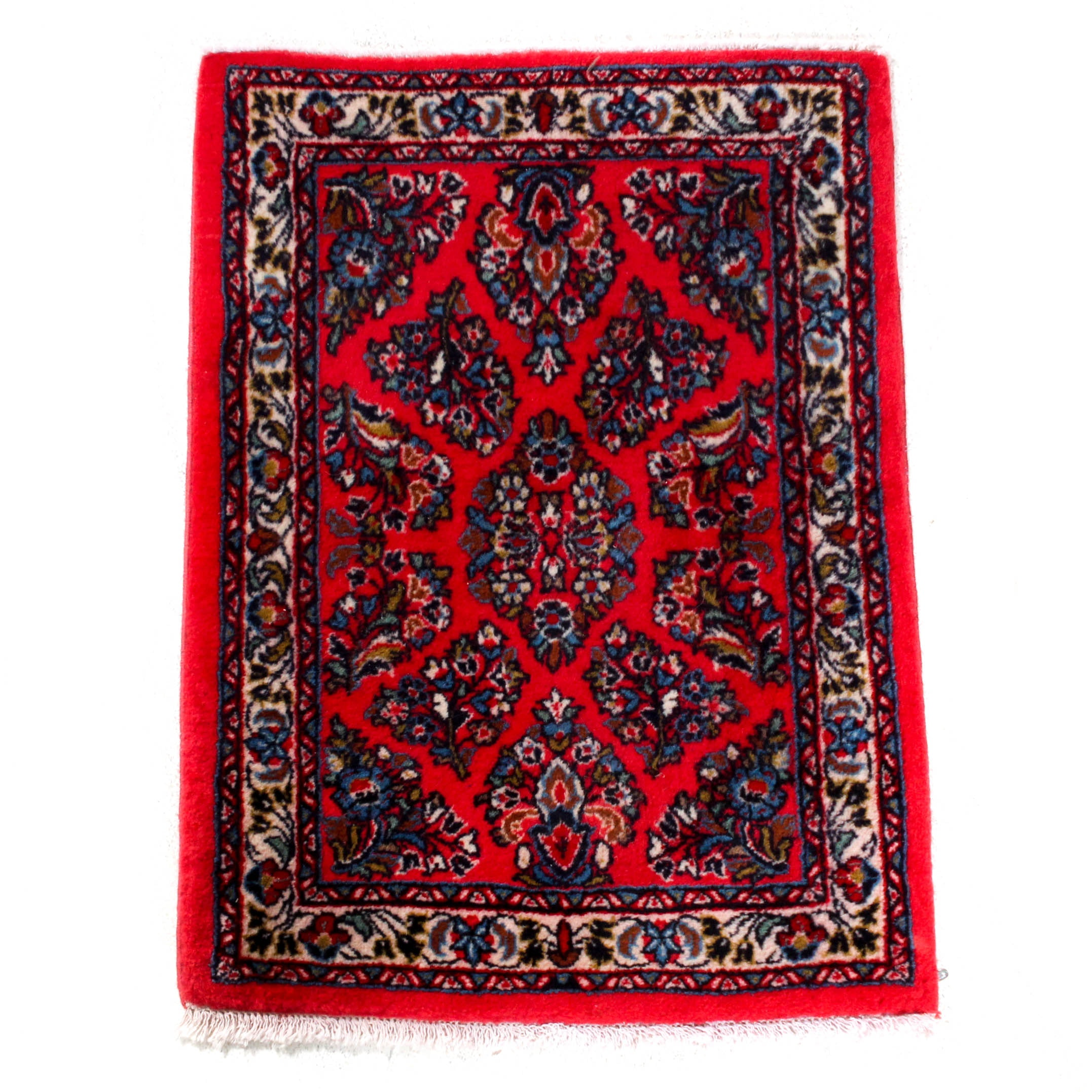 Hand-Knotted Indo-Persian Sarouk Accent Rug