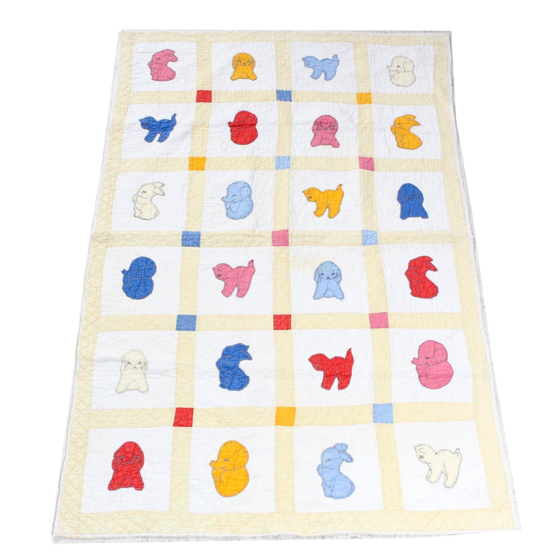 Vintage Appliqued Animals Cotton Crib Quilt