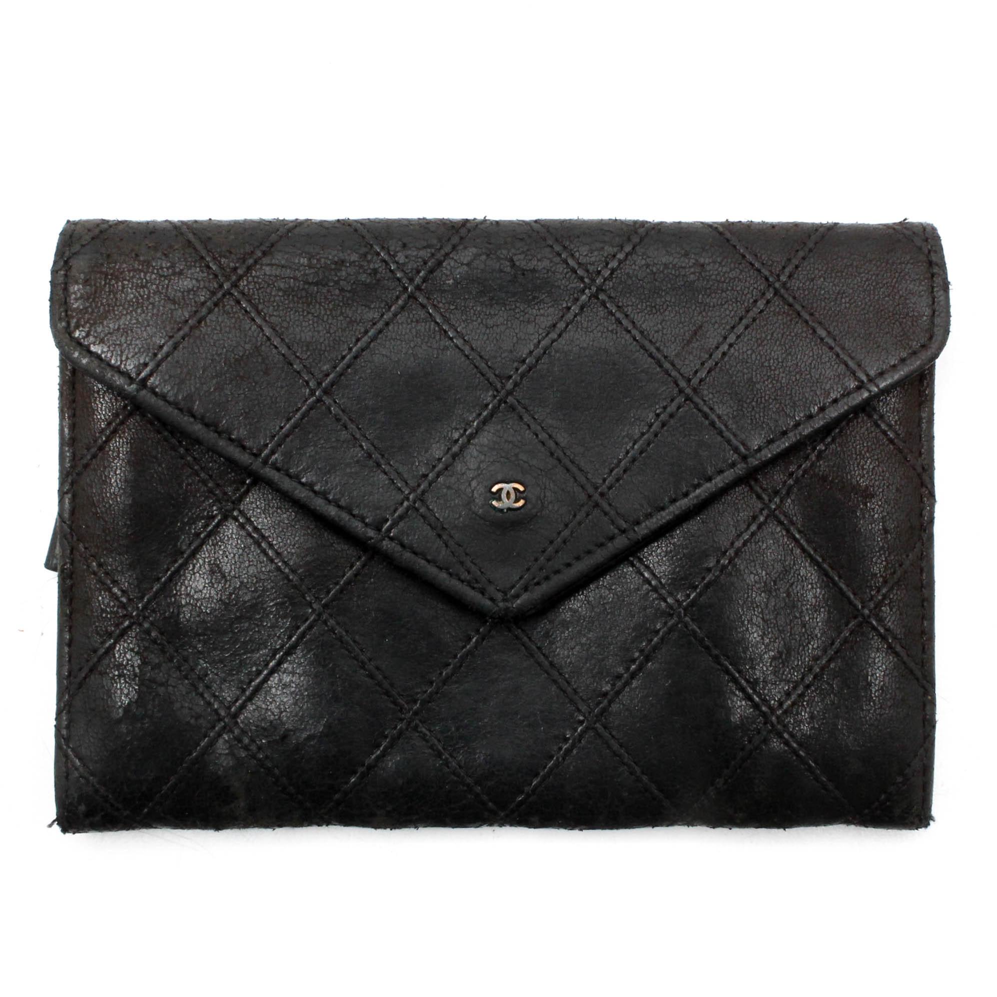 Vintage Chanel Black Quilted Lambskin Leather Envelope Wallet