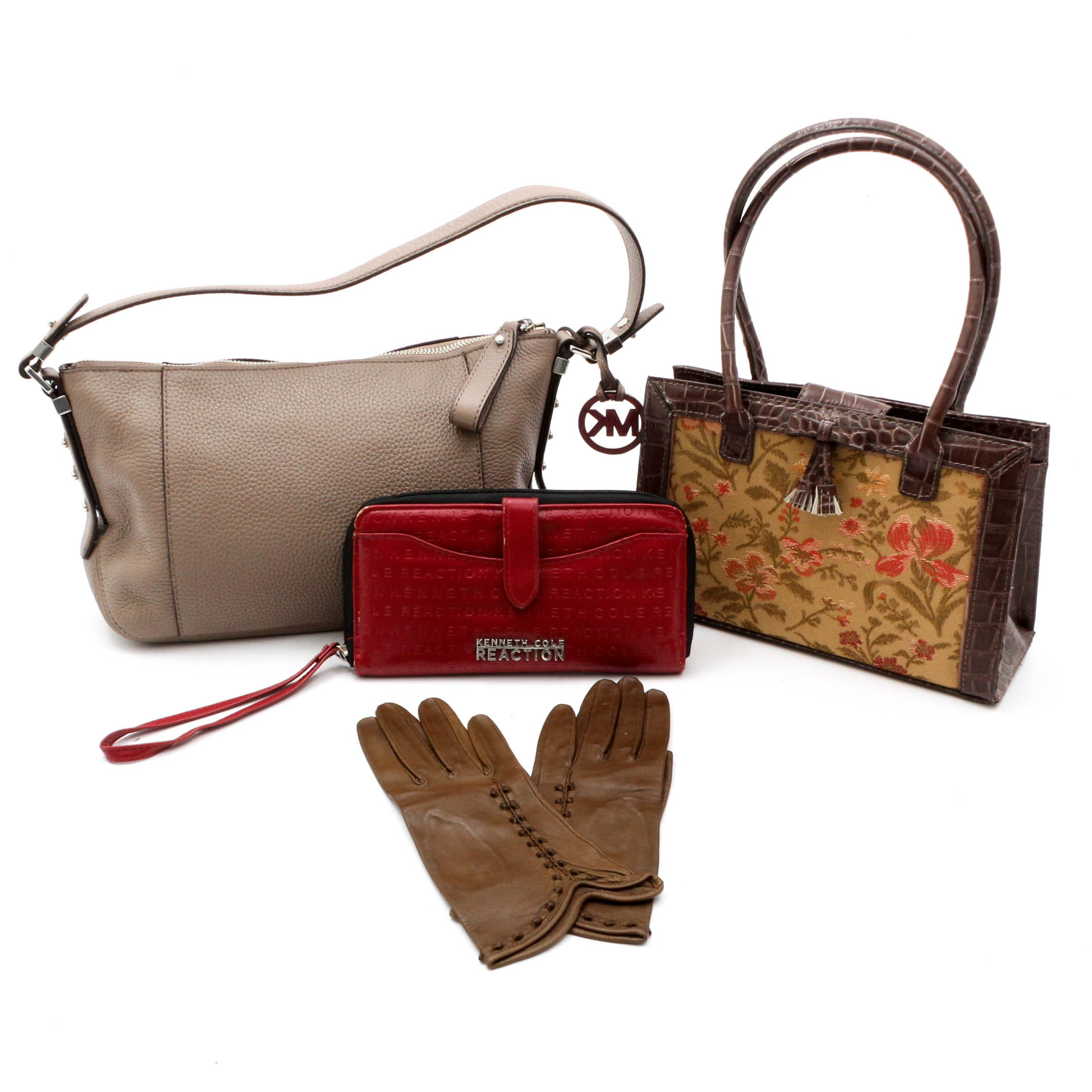 Leather Handbags and Gloves featuring MICHAEL Michael Kors and Kenneth Cole
