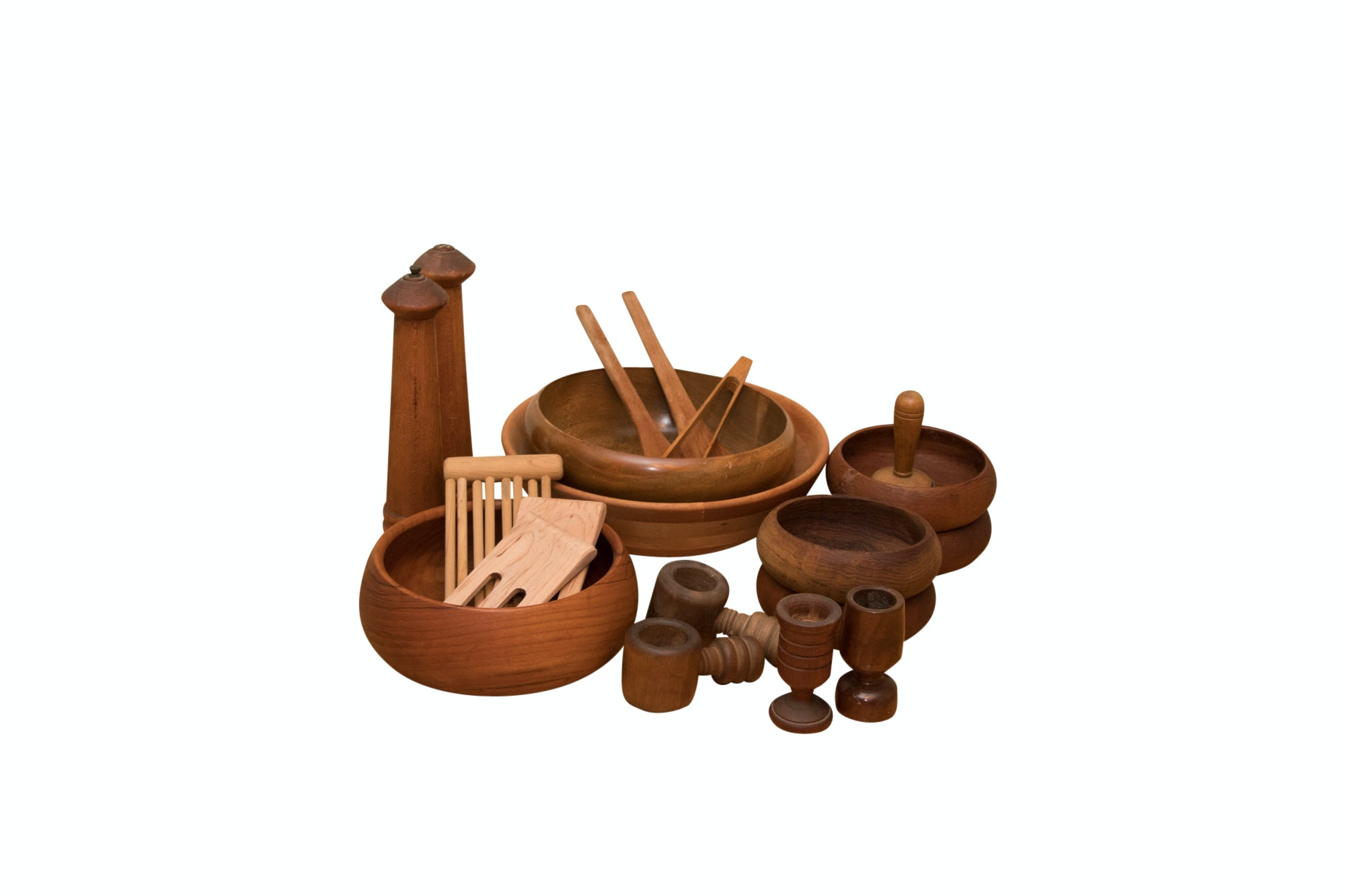 Collection of Vintage Wooden Tableware