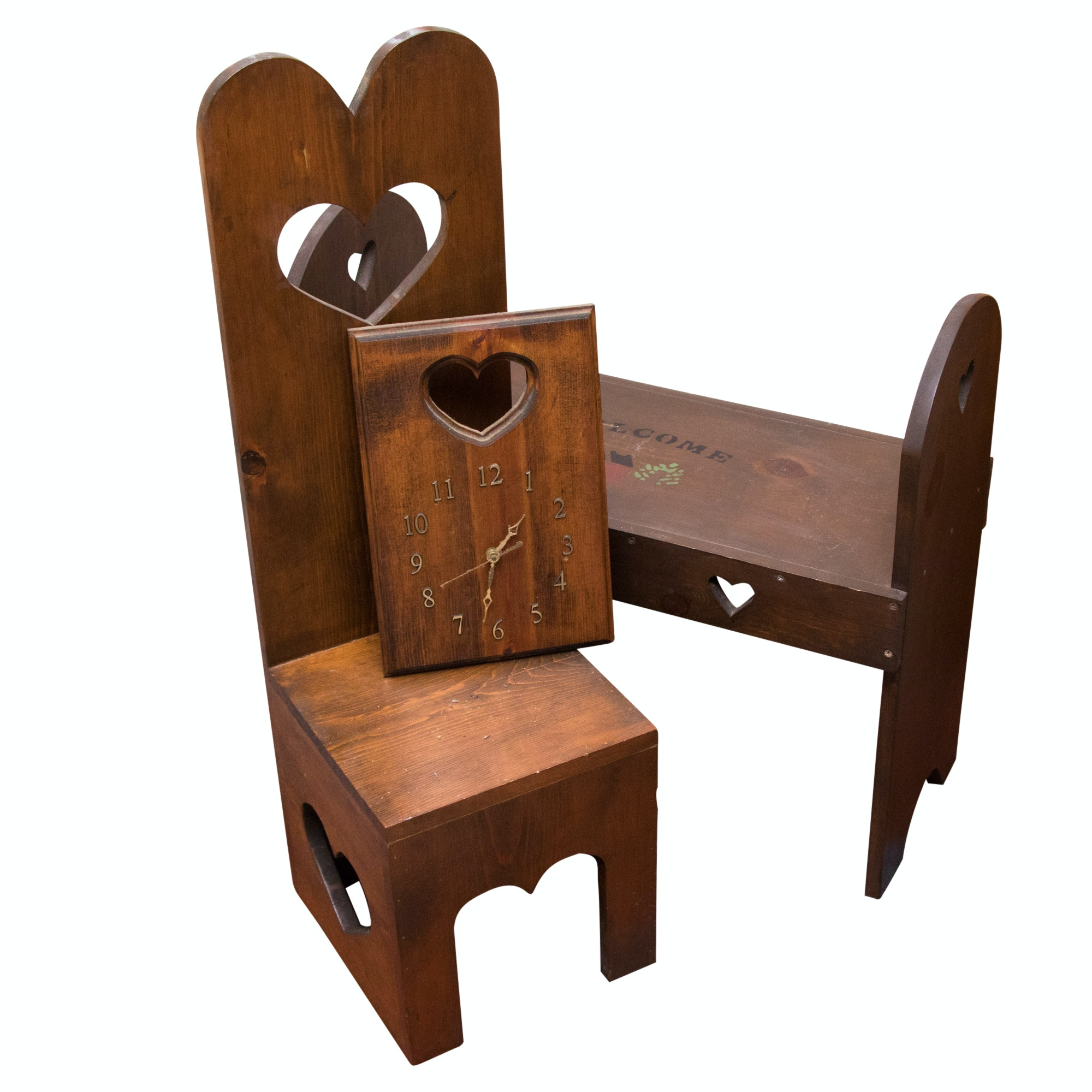 Rustic Pine Bench, Clock and Chair with Heart, Late 20th Century
