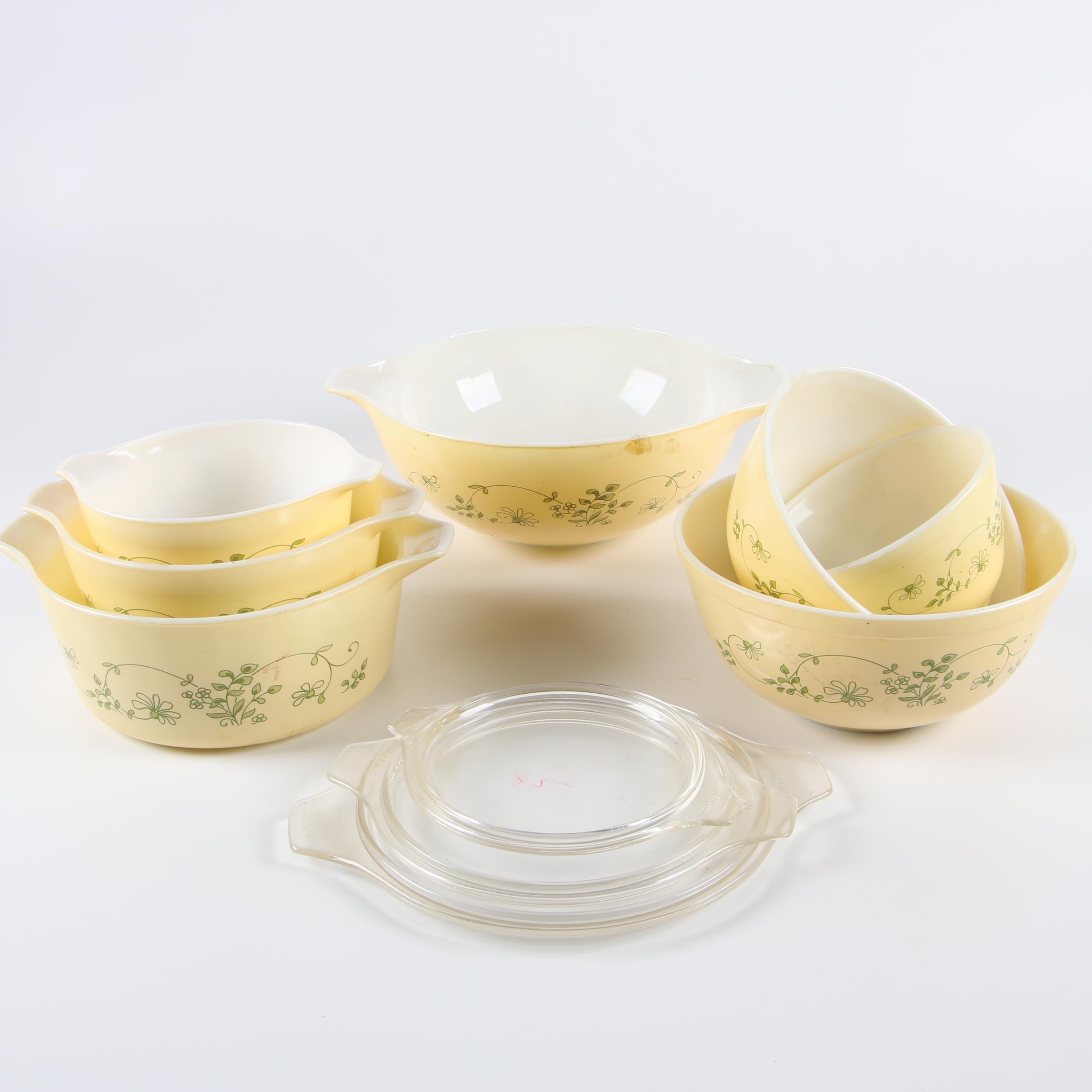 "Vintage Pyrex ""Shenandoah"" Cinderella and Nesting Bowls, Circa 1981-86"