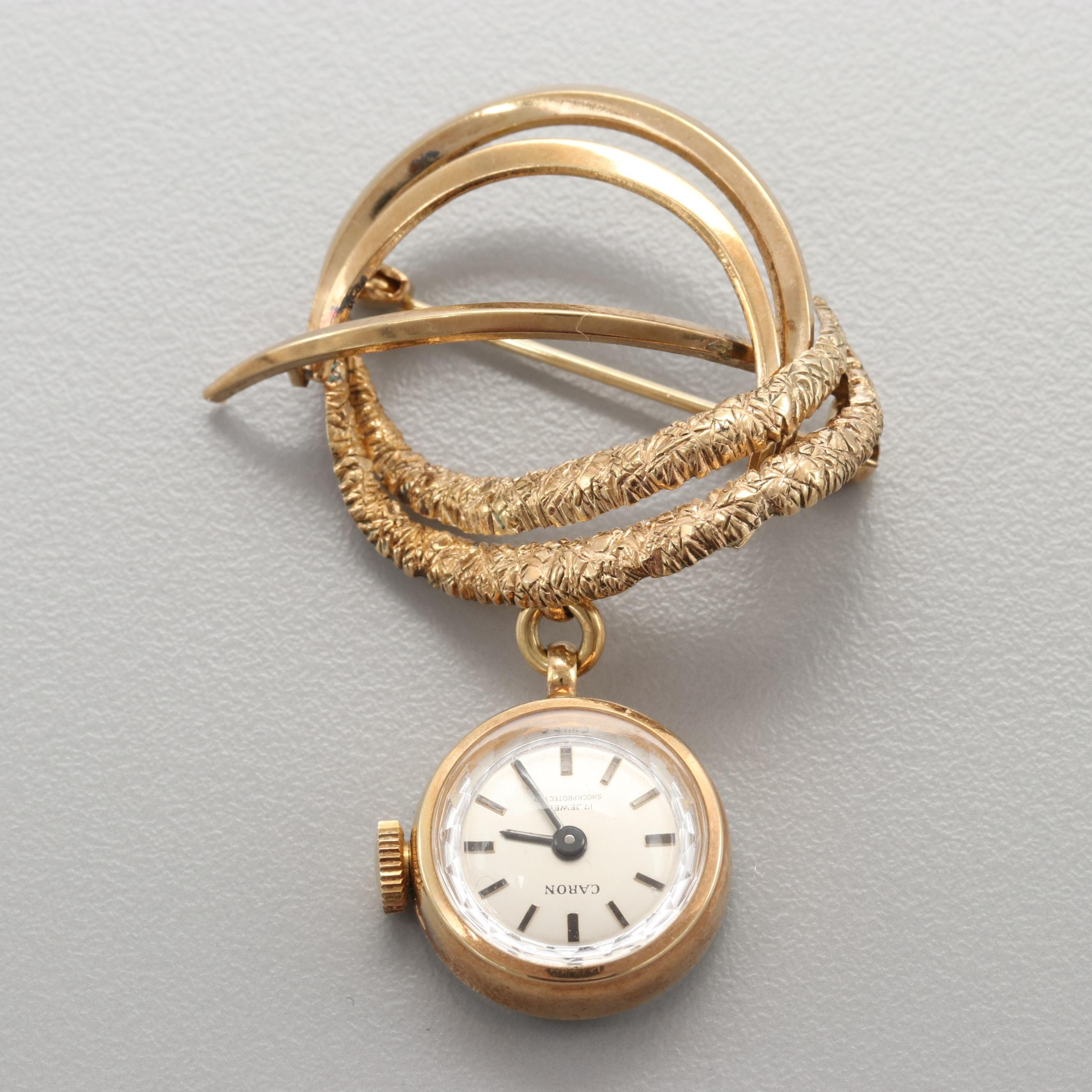Caron Gold Tone Stainless Steel Brooch Watch