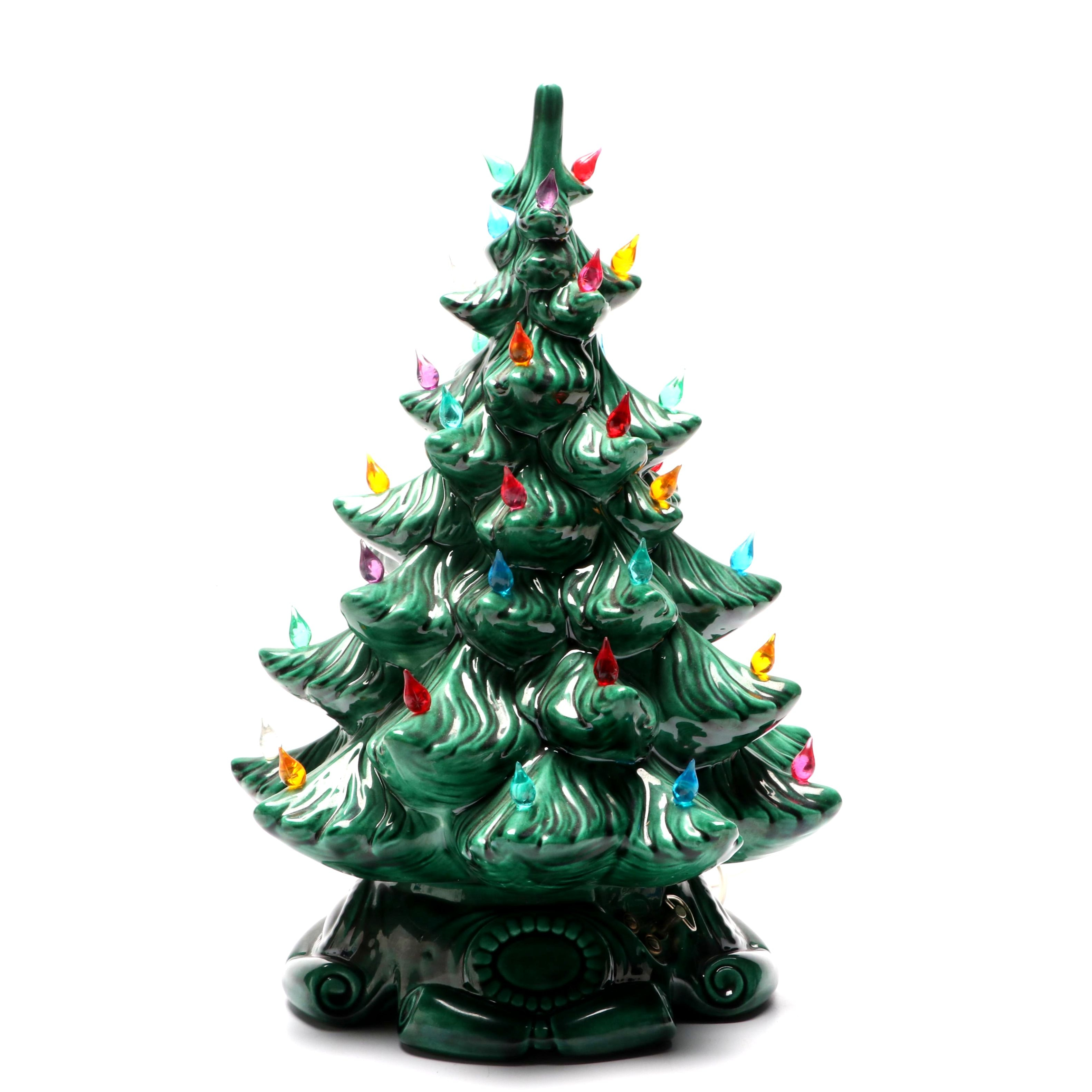 Ceramic Light Up Musical Christmas Tree Table Top Decoration