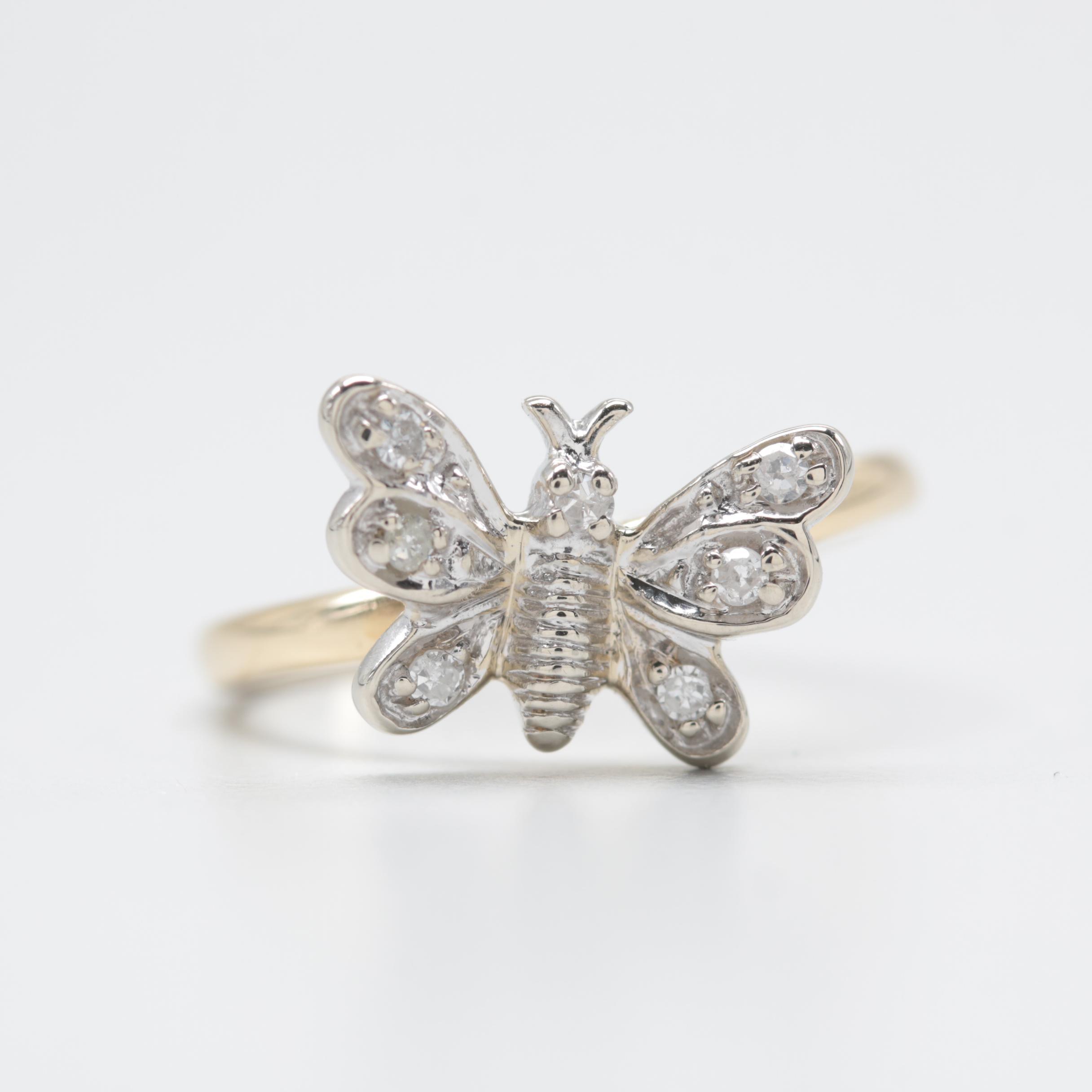 14K Yellow Gold Diamond Ring Butterfly Motif
