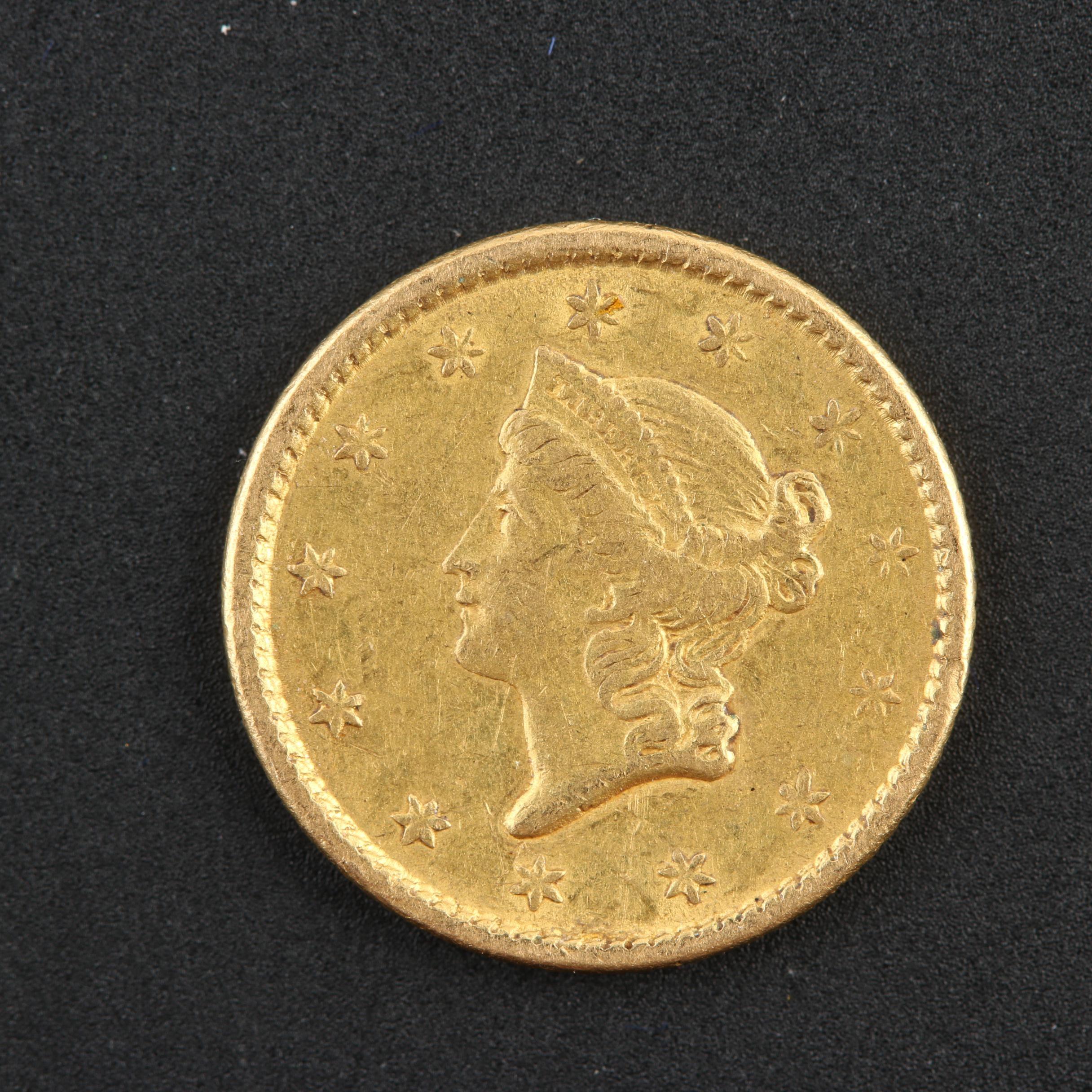1851 Liberty Head $1 Gold Coin