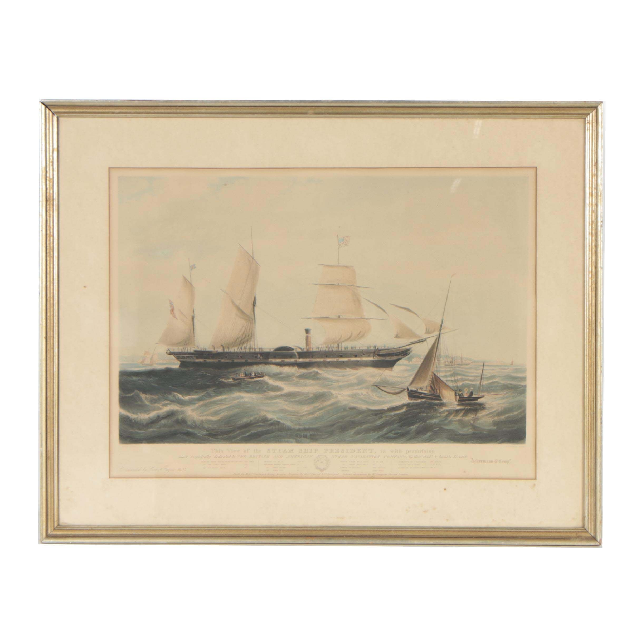 """Henry Papprill Etching after William Adolphus Knell """"Steam Ship President"""""""