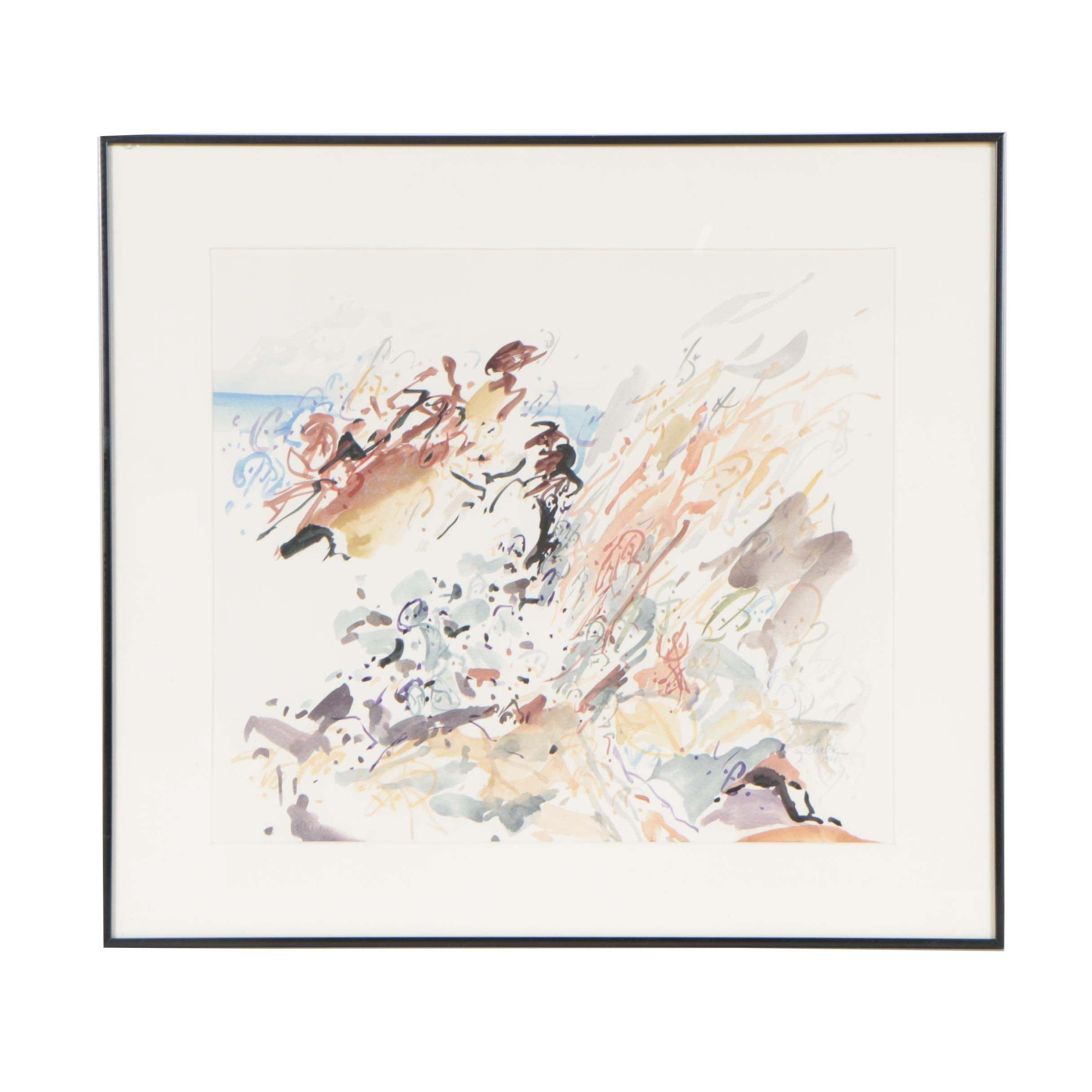 "Pamela Schalck 1984 Watercolor ""Faces at the Fort"""