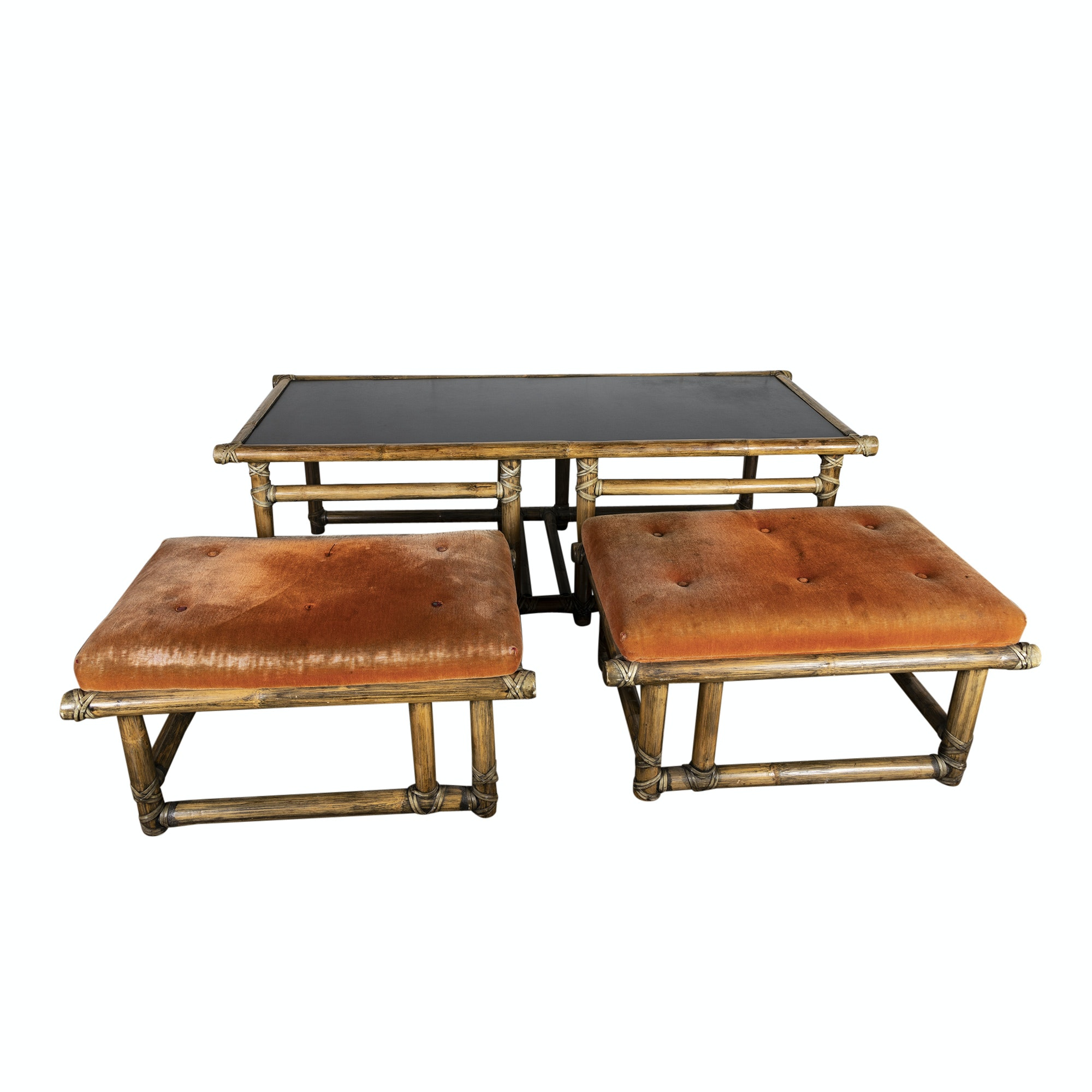 Rattan Coffee Table and Upholstered Benches by McGuire, Mid 20th Century