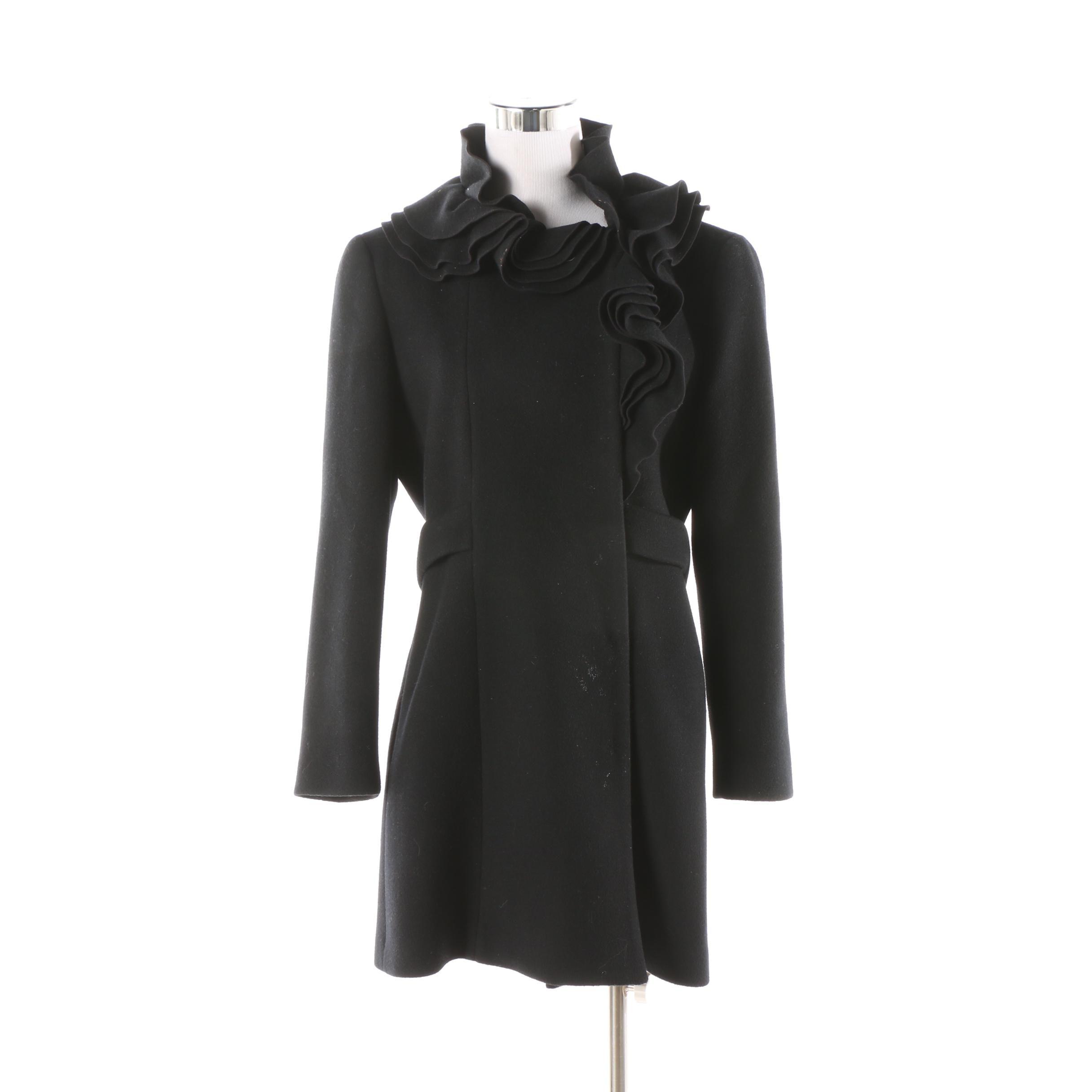 Elie Tahari Ruffle Collar Black Wool Coat