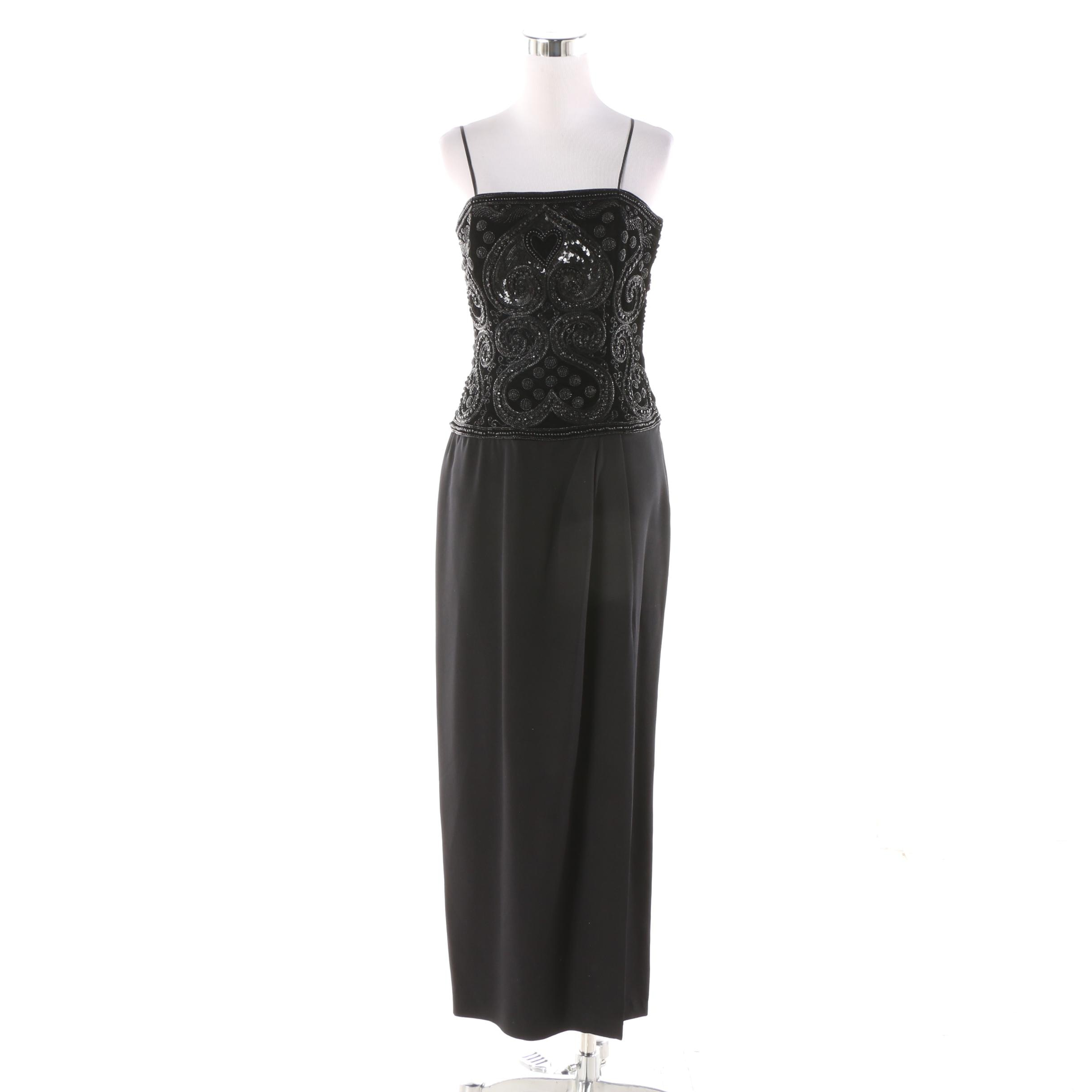 Escada Couture Black Evening Dress with Heart-Embellished Bodice