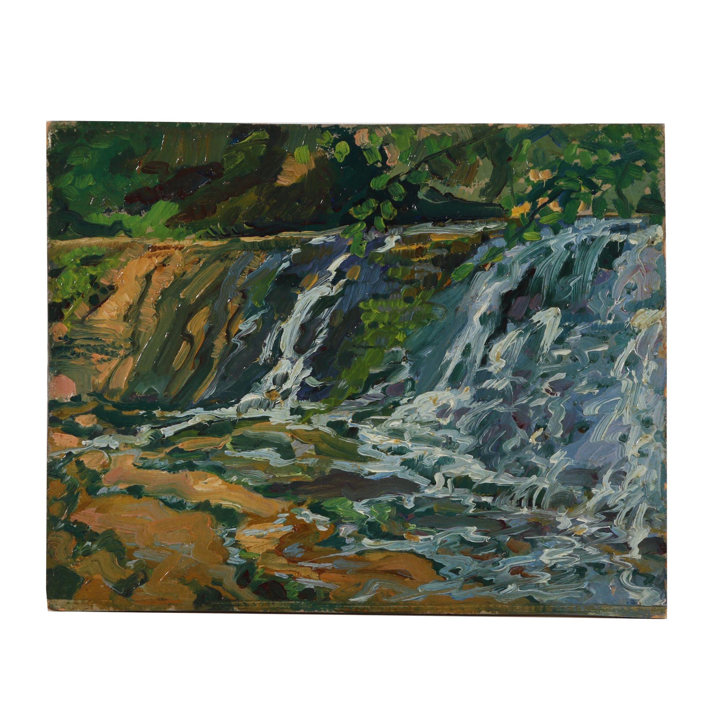 "Robert Whitmore Oil Painting ""Barrett's Falls"""