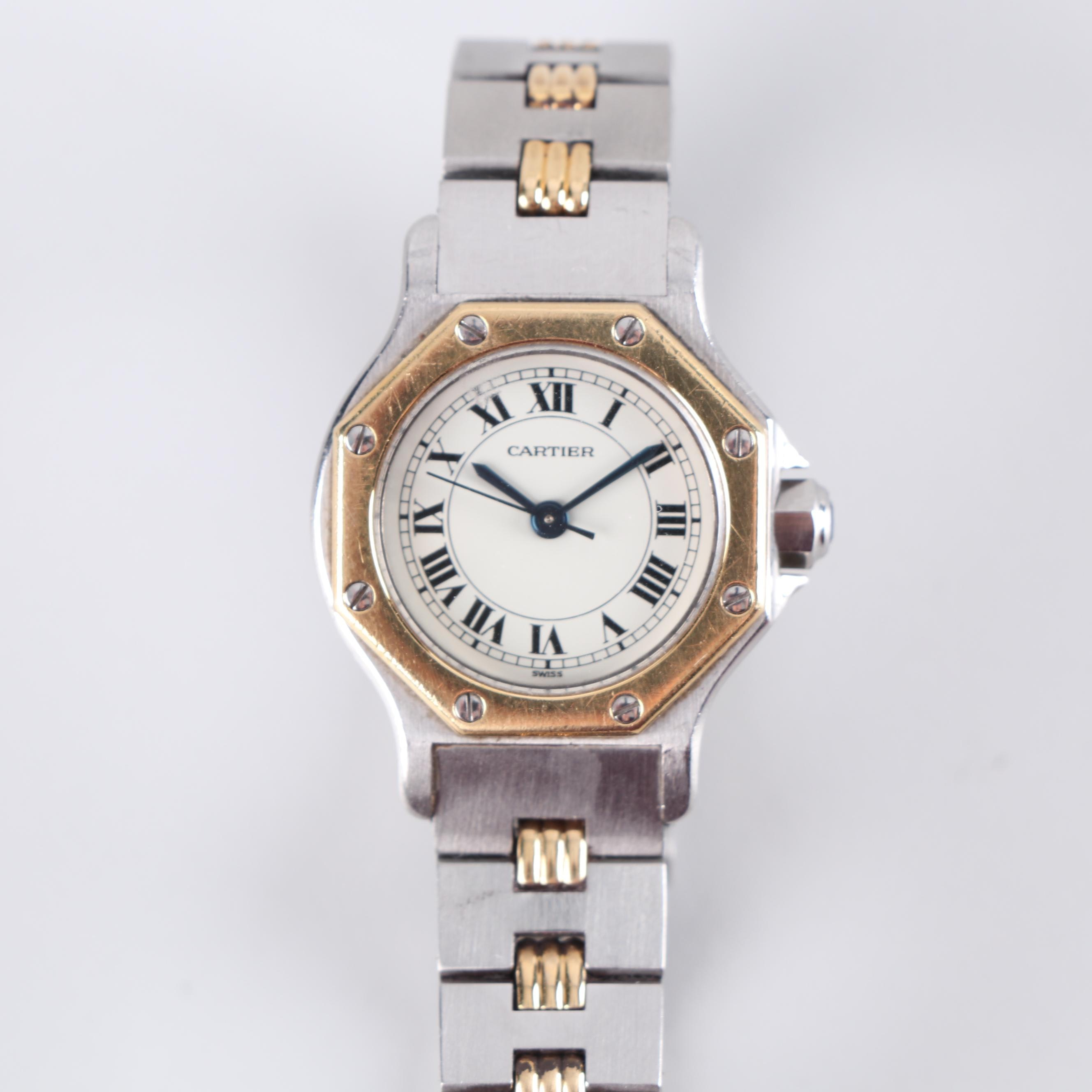 Cartier 18K Yellow Gold Accented Stainless Steel Wristwatch