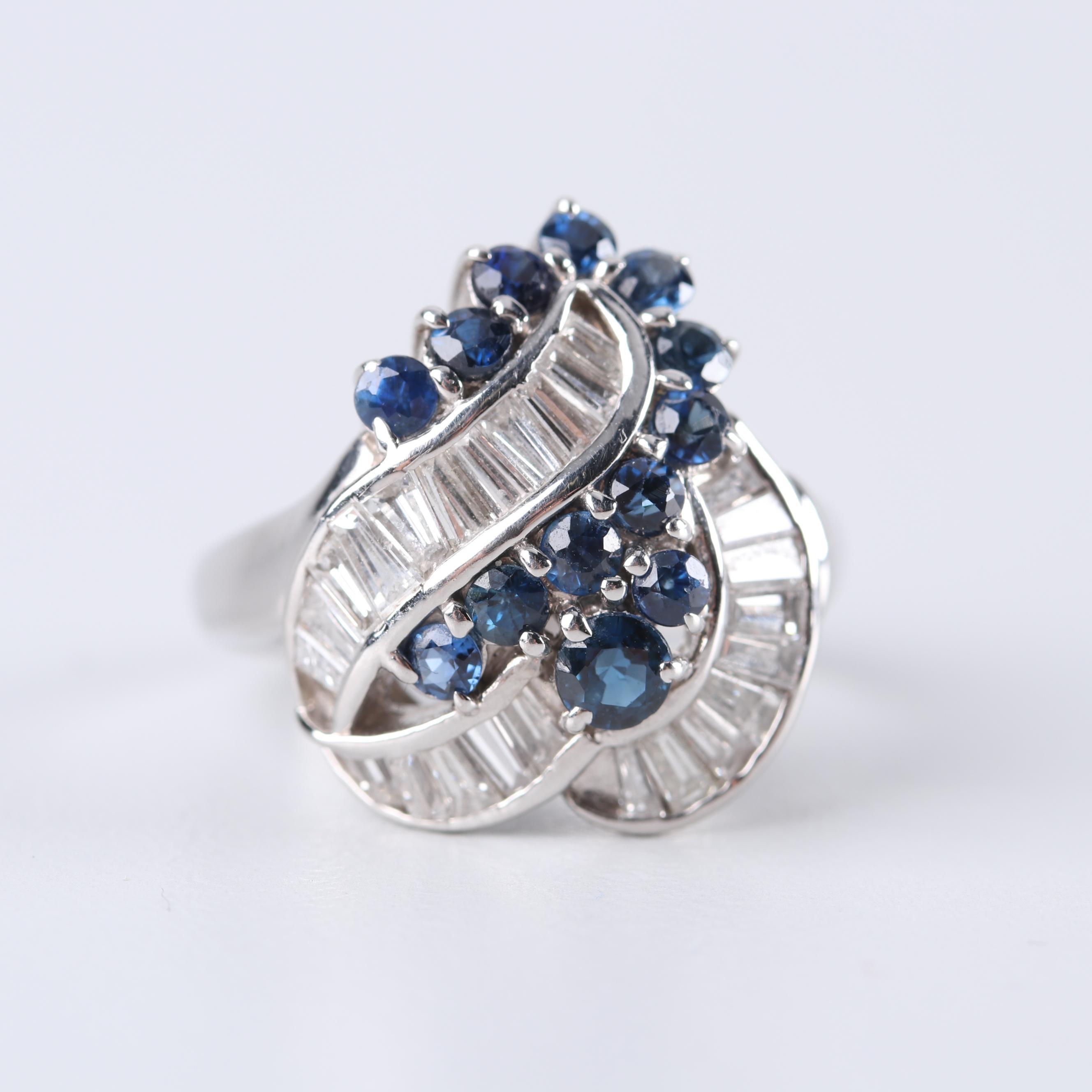 Platinum 1.20 CTW Diamond and Sapphire Ring