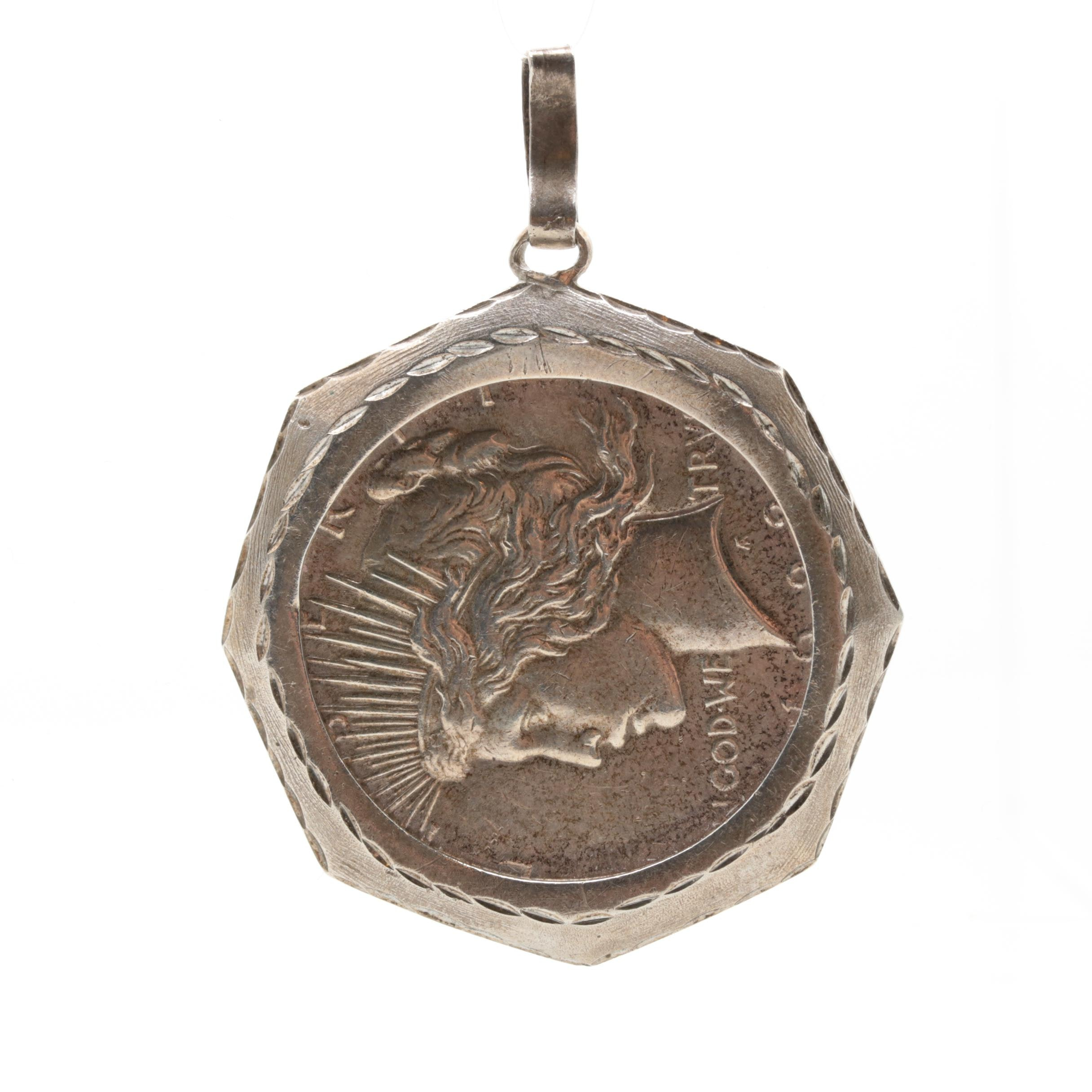 Sterling Silver Pendant with 1922 Peace Dollar Silver Coin