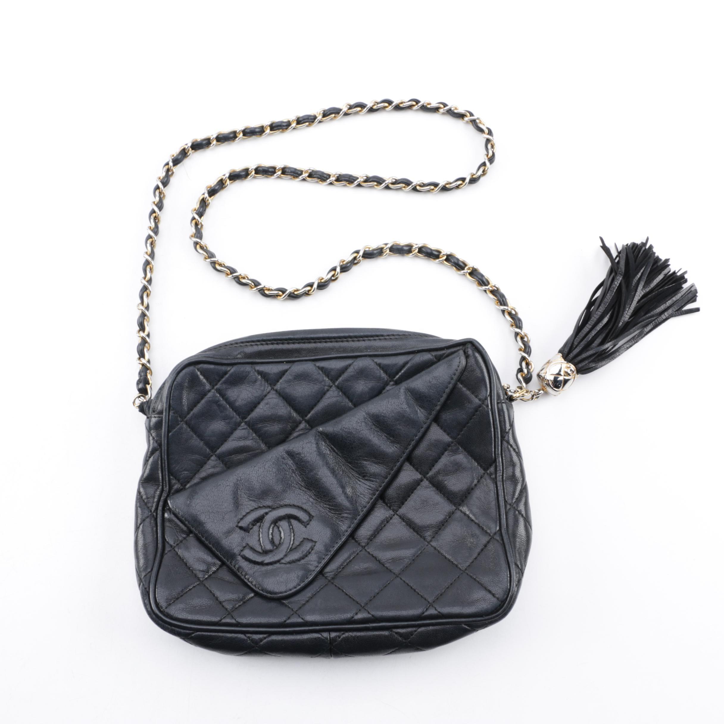 Chanel Quilted Black Leather Folded Front Shoulder Bag
