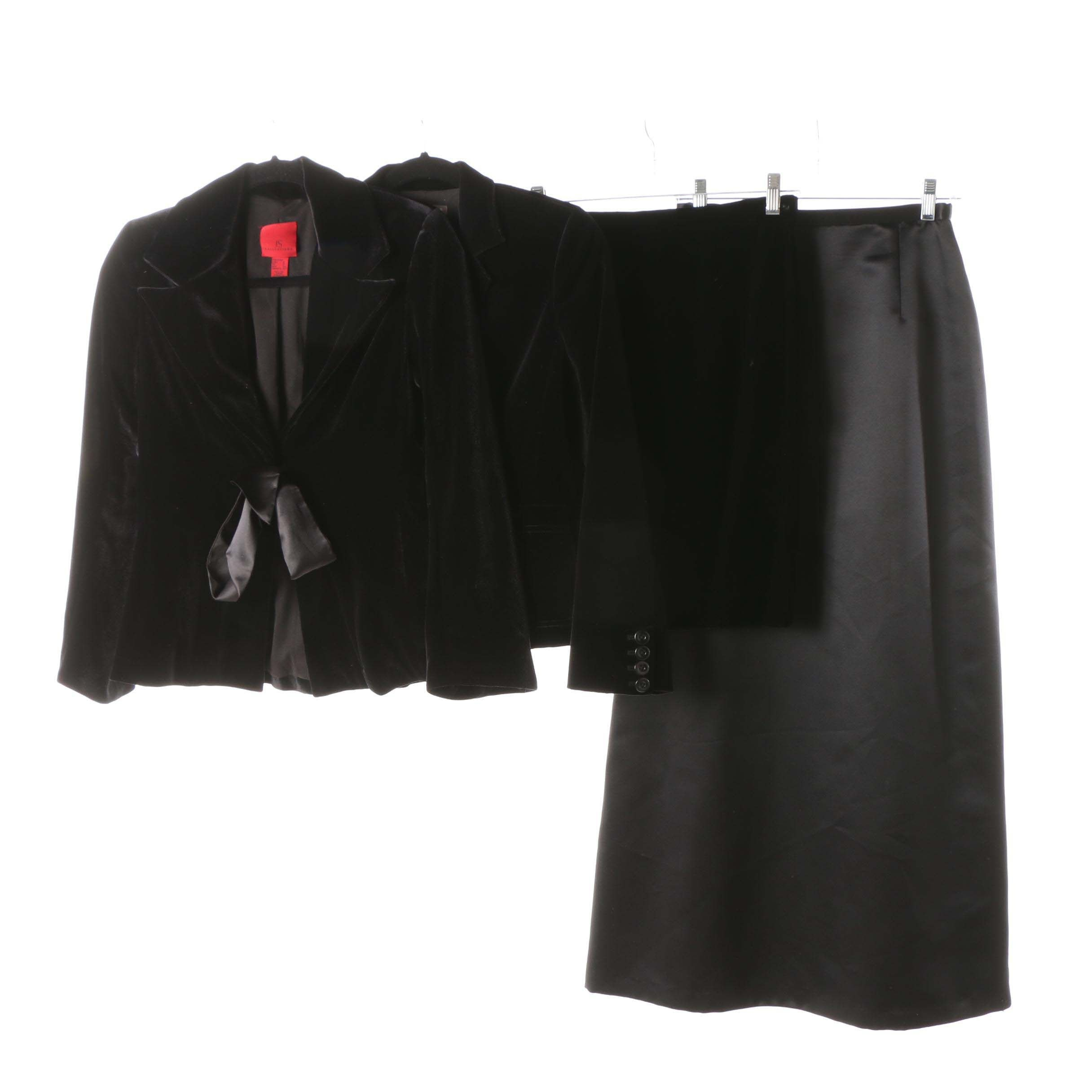 Women's Velveteen and Satin Jackets and Skirts