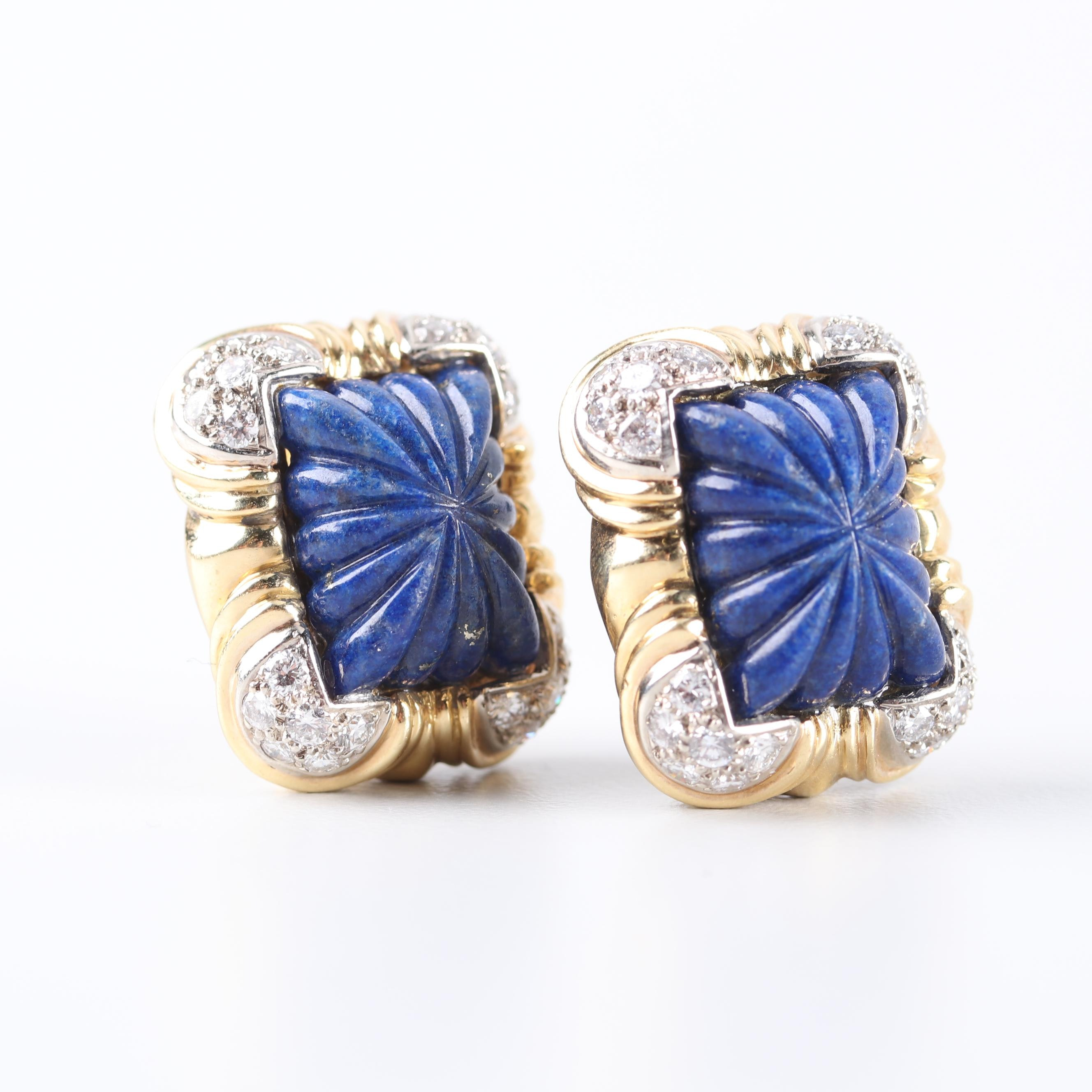 R. Stone 18K Yellow Gold Lapis Lazuli and 2.00 CTW Diamond Earrings