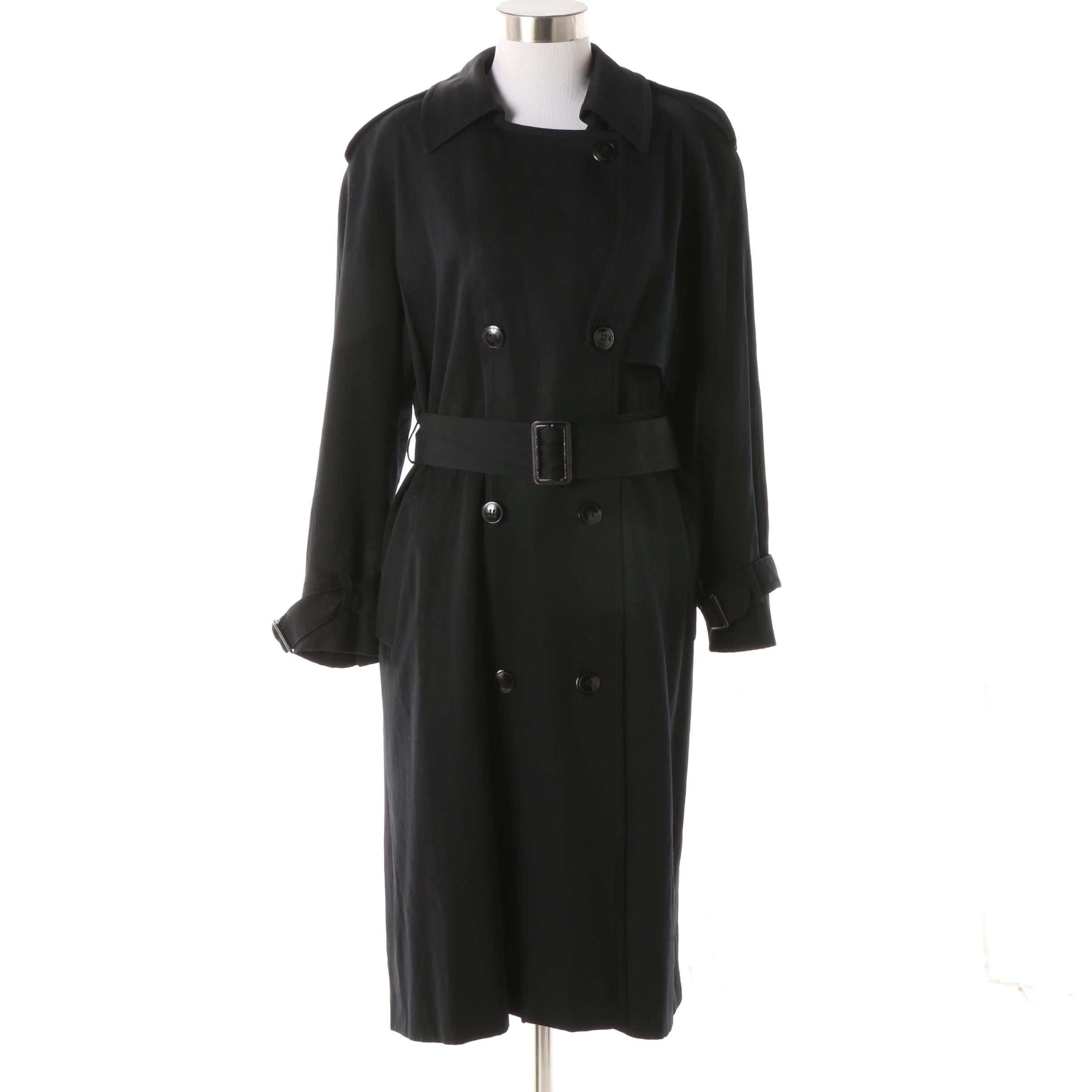 Women's Neiman Marcus Black Wool Double-Breasted Trench Coat