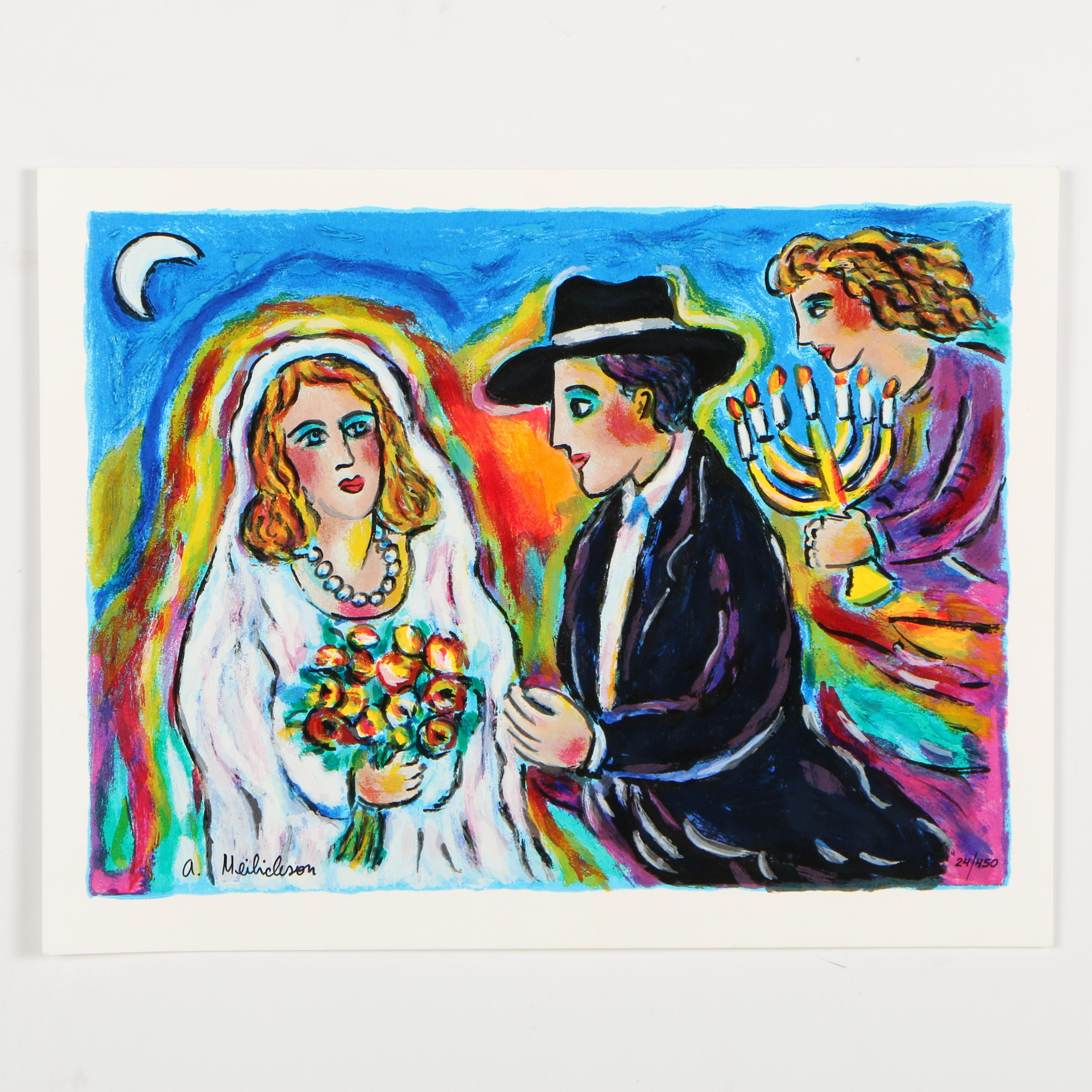 """Alex Meilichson Serigraph """"Moonlight Wedding"""""""