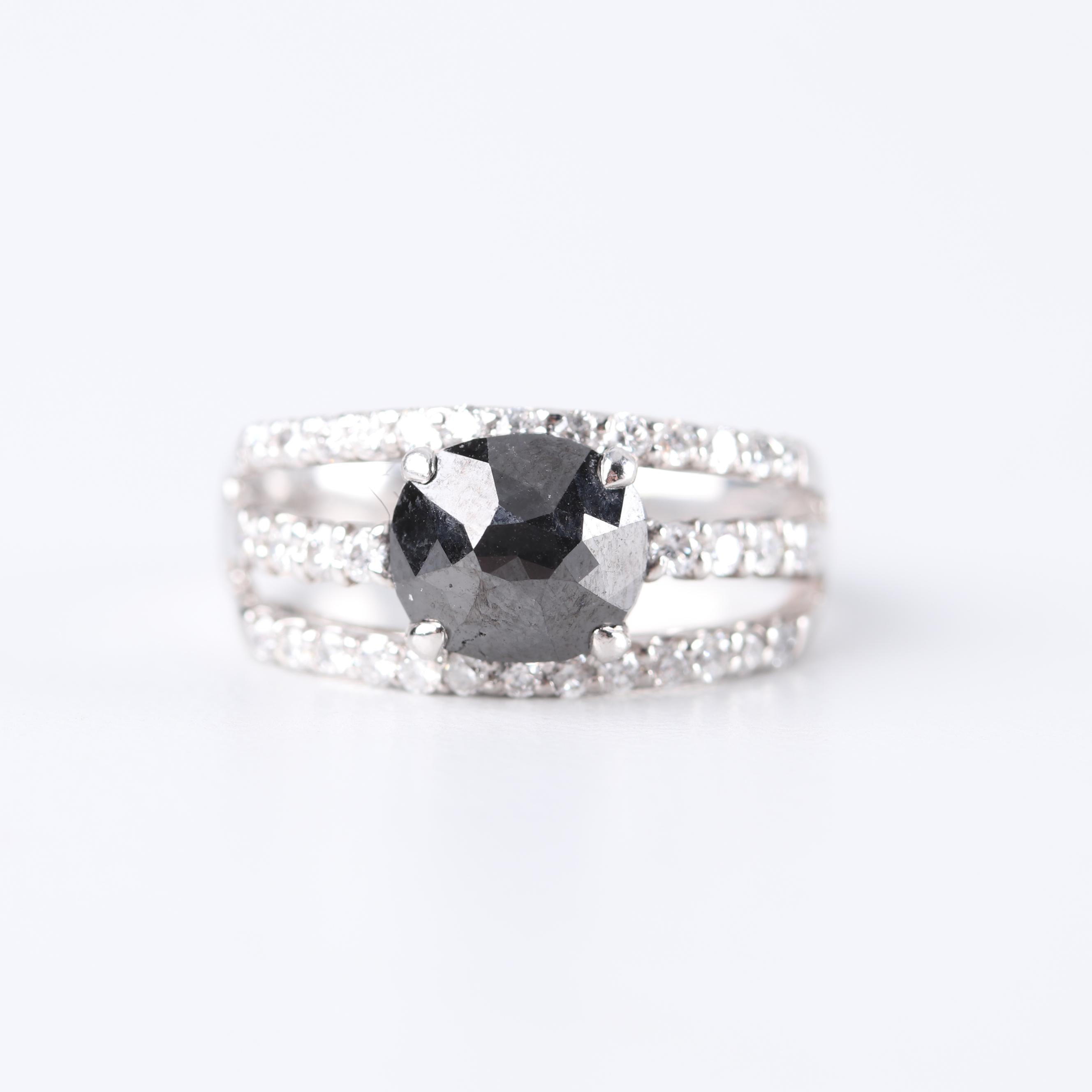 Platinum Black Diamond and Diamond Ring