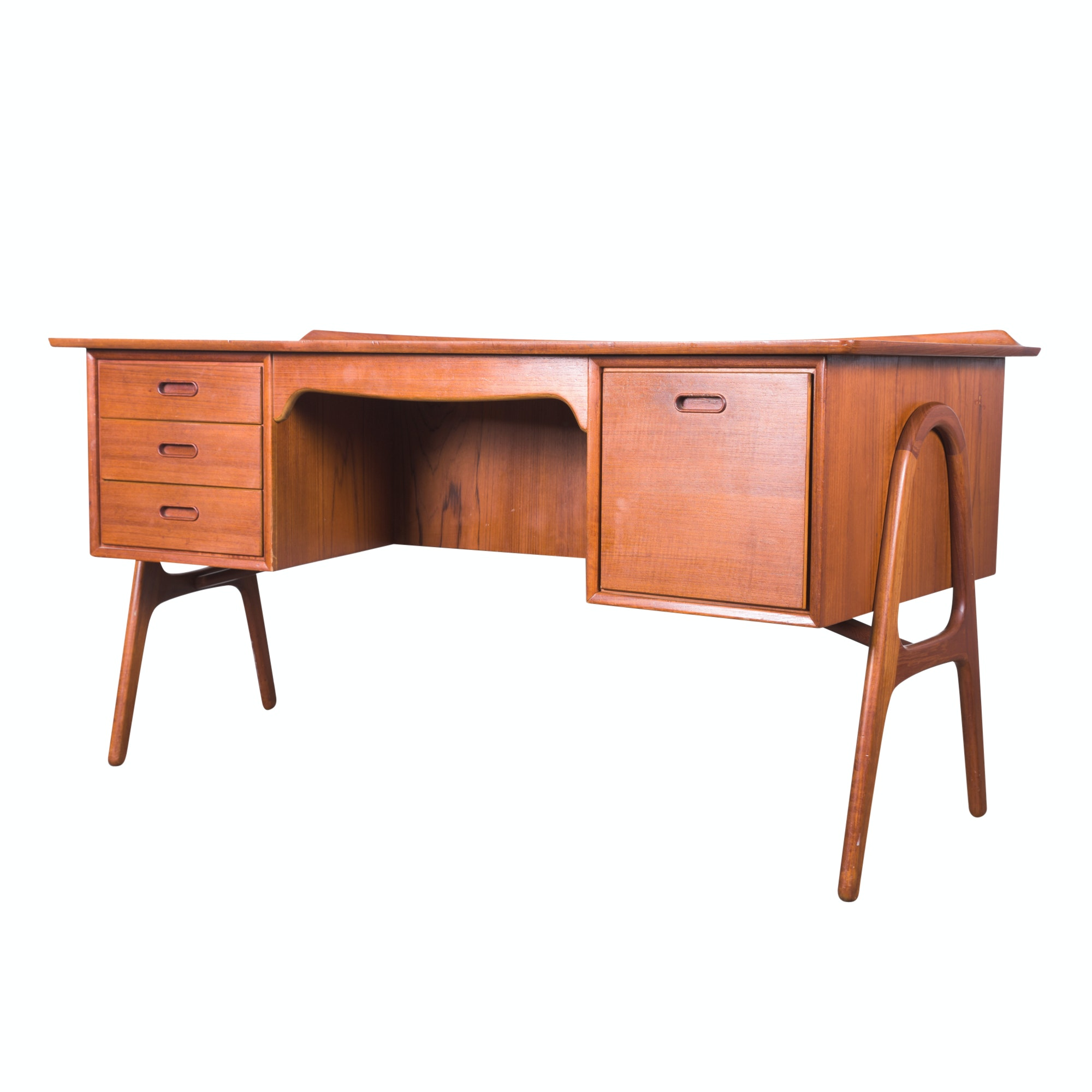 Danish Modern Teak Executive Desk by Sven Madsen for Sigurd Hansen, Mid-20th C
