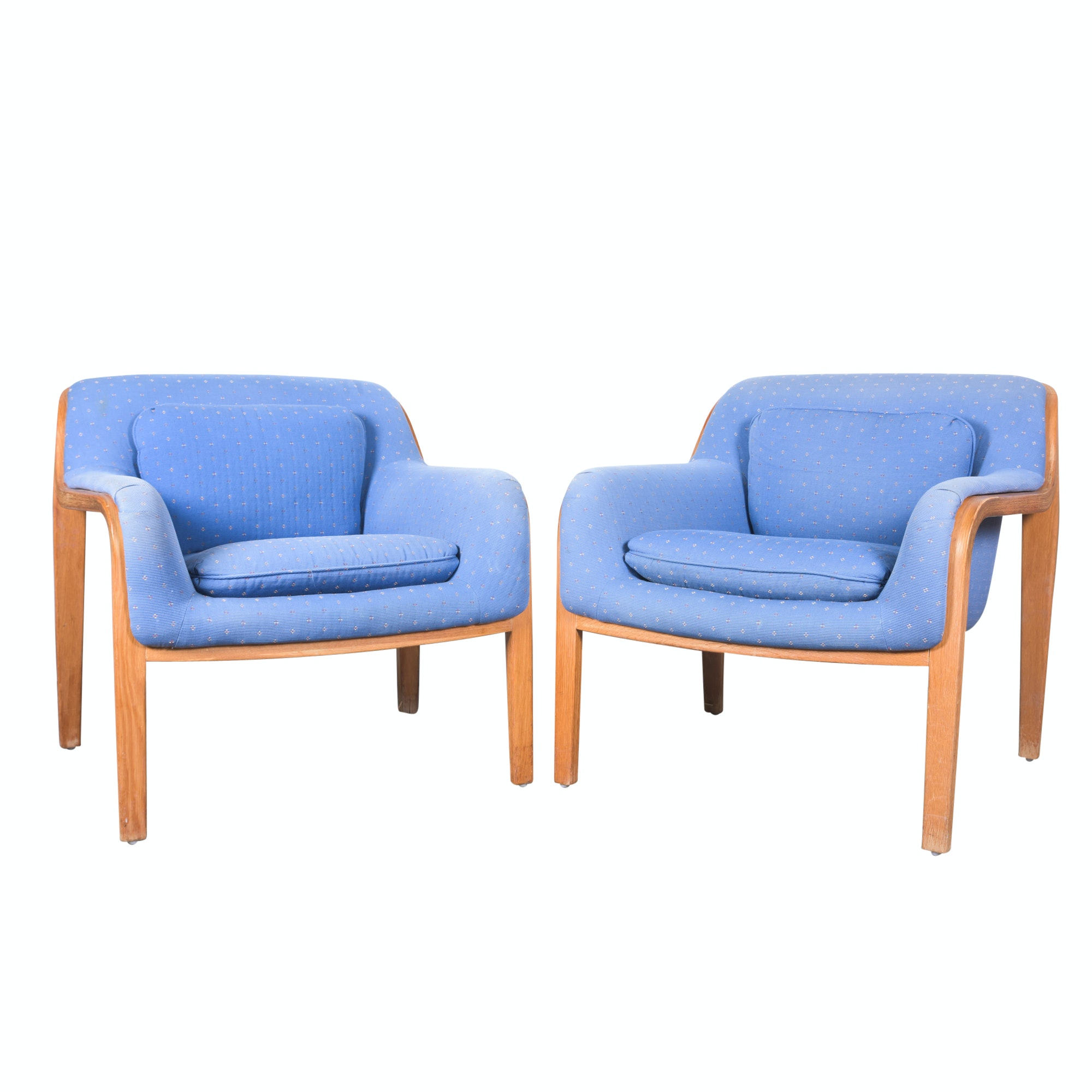 "Mid Century Modern ""Stephens"" Style Walnut Lounge Chairs, Mid-20th Century"