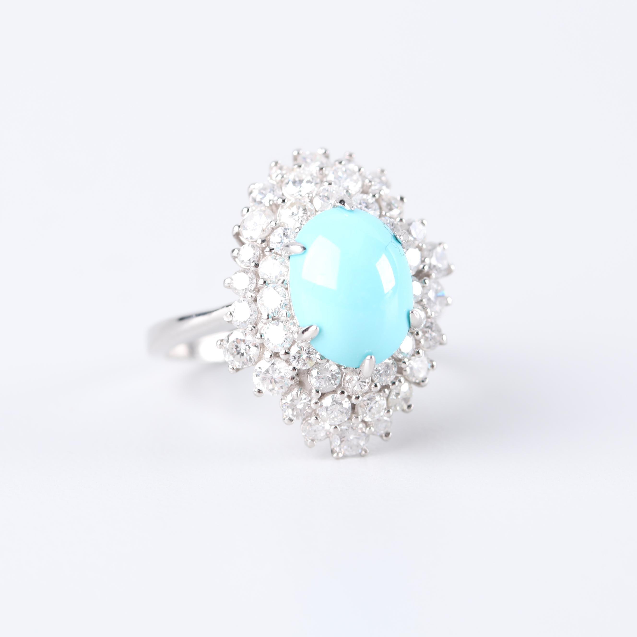 Platinum Turquoise and 1.75 CTW Diamond Ring