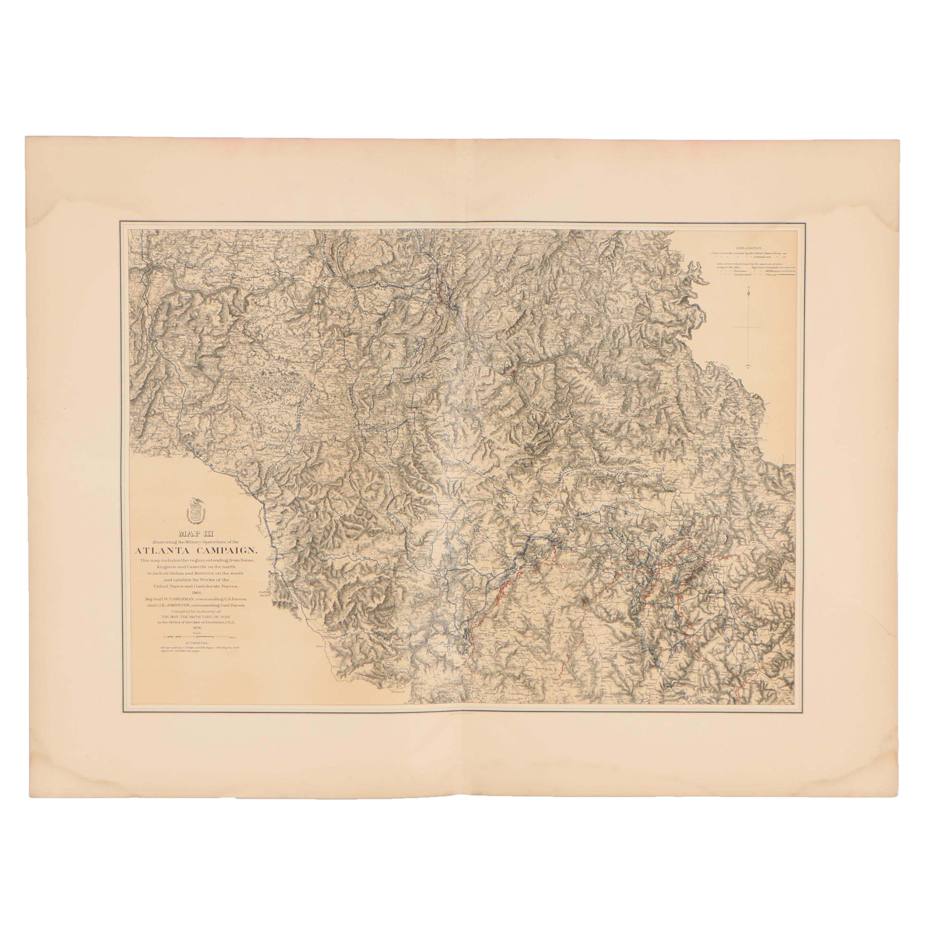 Late 19th Century United States Civil War Battlefield Map